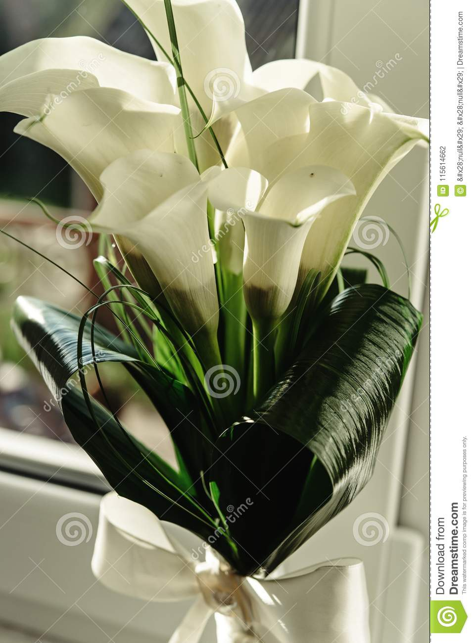 Luxury Gorgeous Wedding Bouquet With White Calla And Lily For Br Stock Photo Image Of Flowers Background 115614662