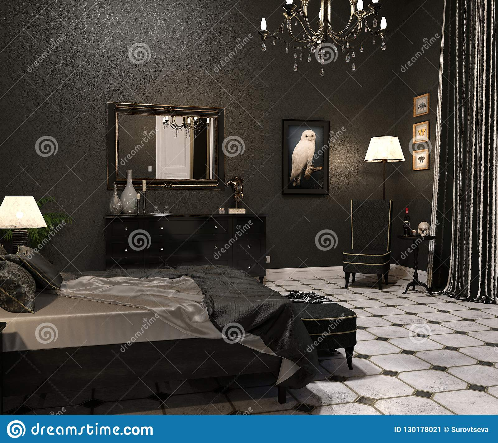 Luxury Goth Living room stock image. Image of architecture - 130178021