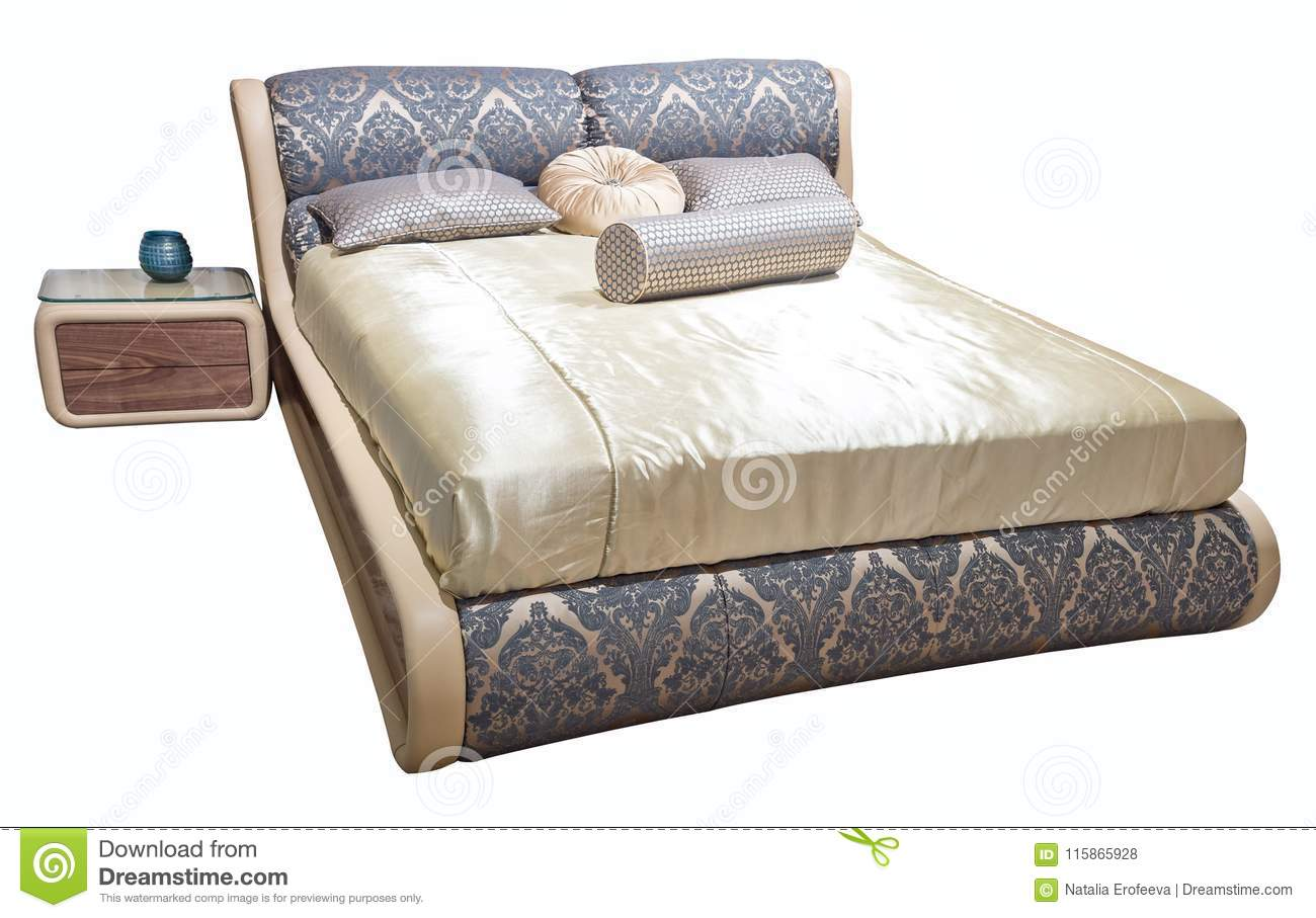 Luxury gray beige modern bed furniture with patterned bedclothes with upholstery floral texture headboard soft