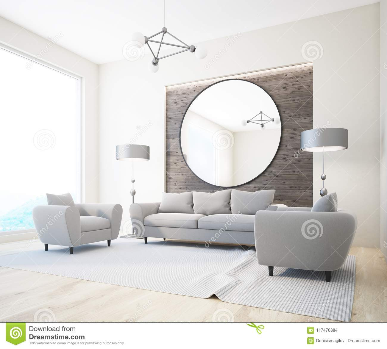 Gray Sofa White And Wooden Living Room Mirror Stock Illustration