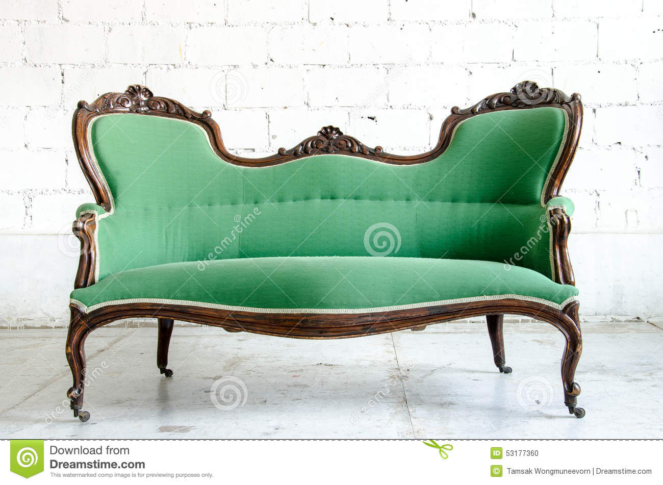 luxury green vintage style armchair sofa couch in vintage room stock photo image 53177360. Black Bedroom Furniture Sets. Home Design Ideas