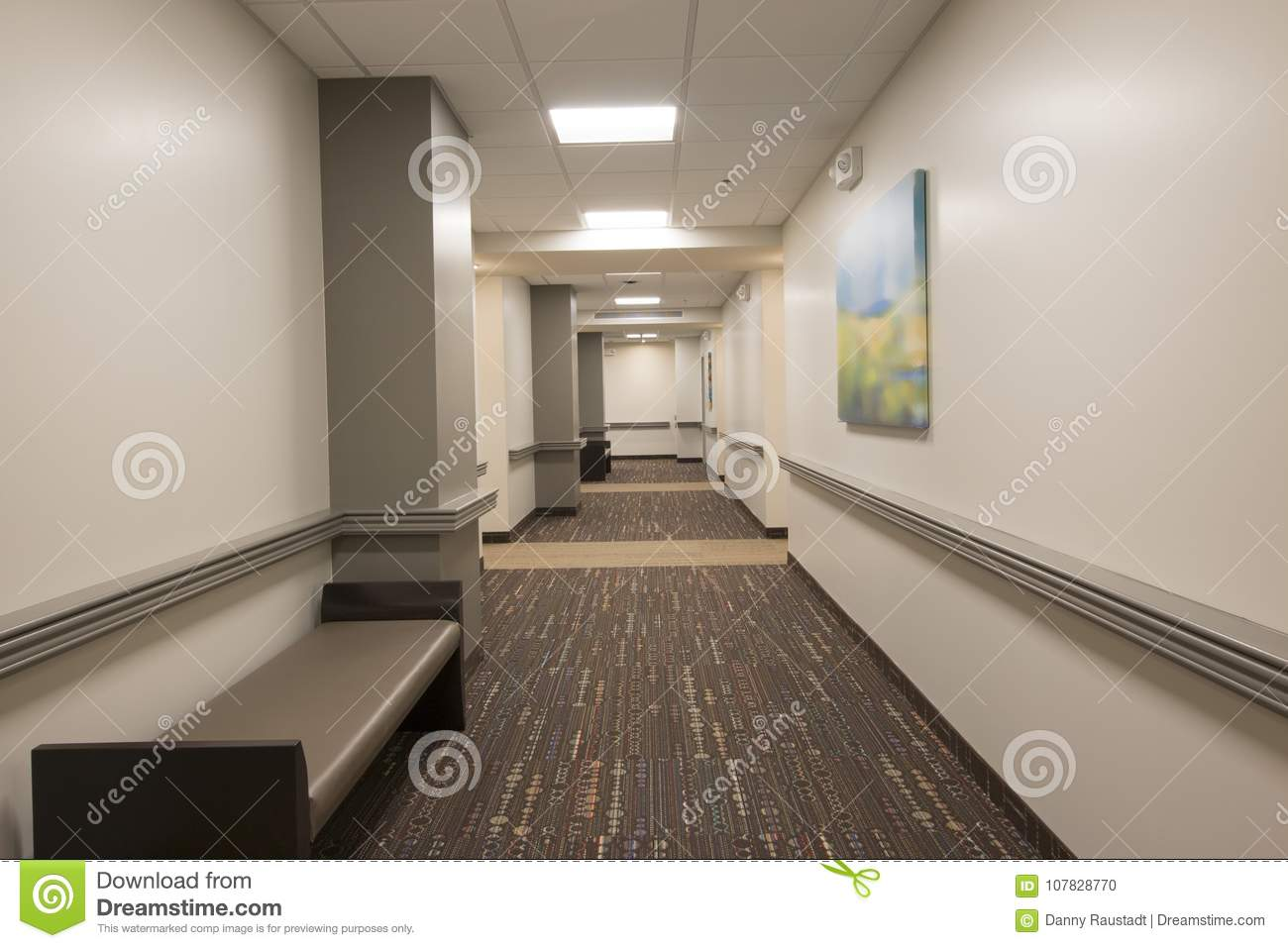 Assisted Living Apartment Hallway Stock Photo