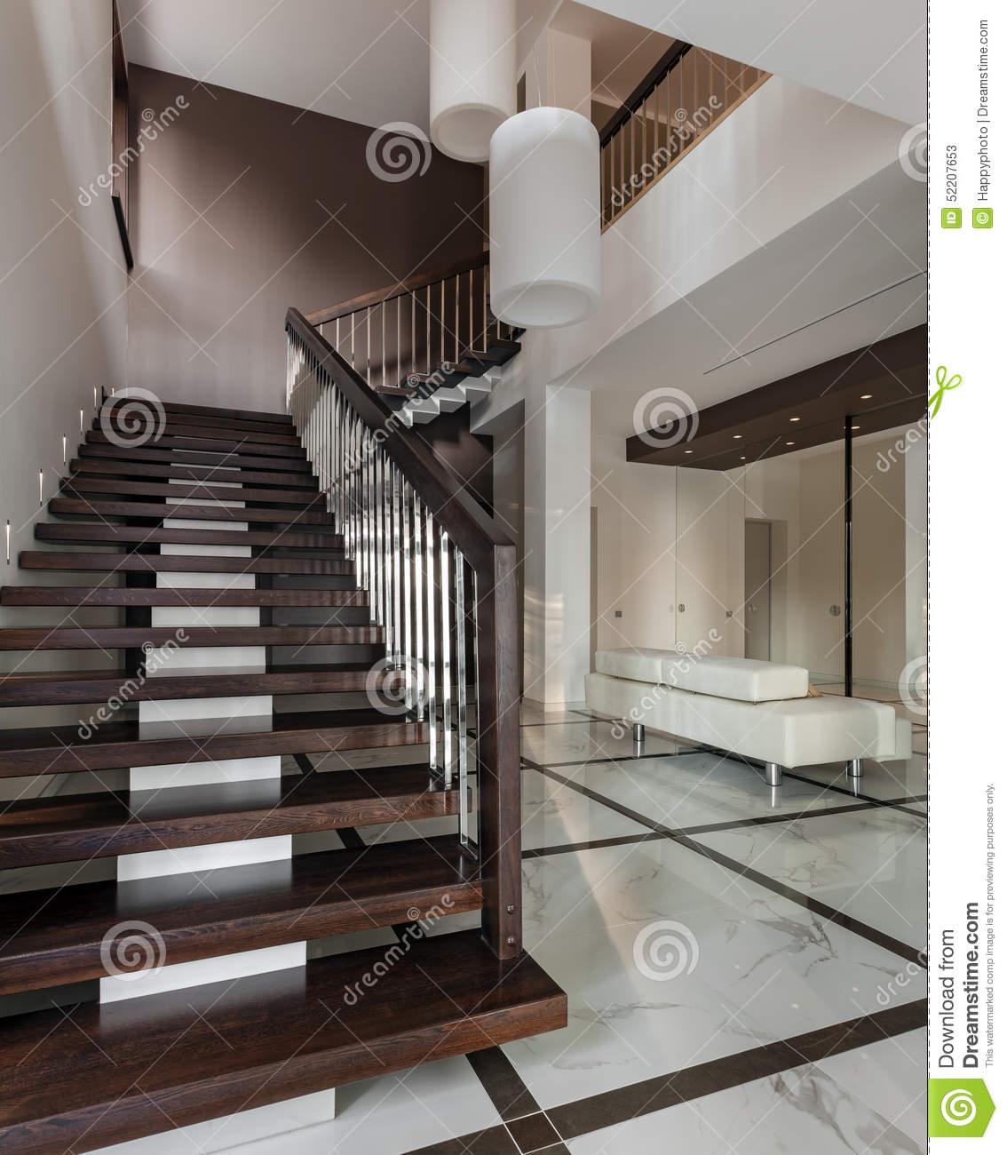 Luxury Home Interior Staircase: Staircase To Luxury Living Room Wide View Royalty-Free