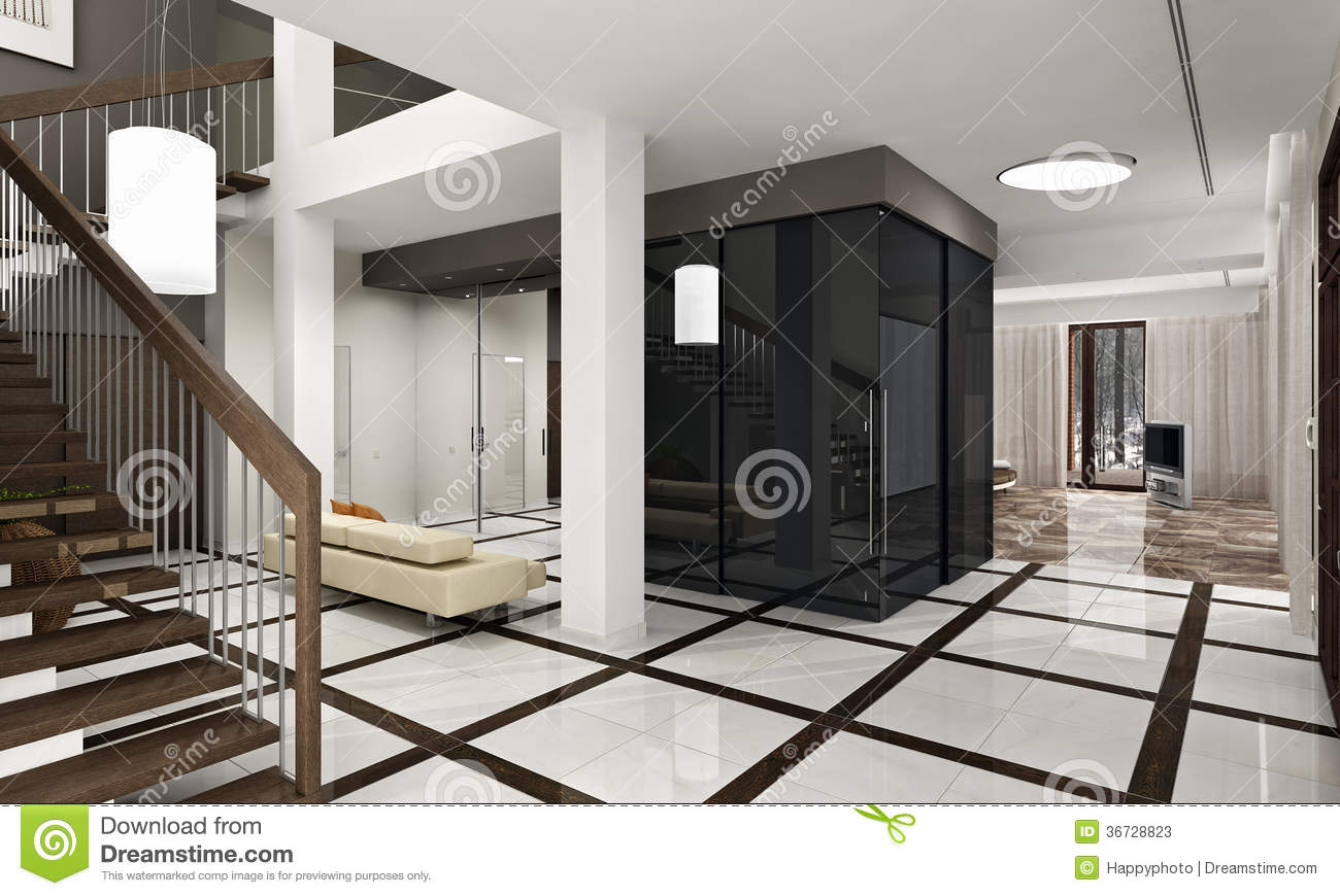 luxury hall with staircase in a new house stock photos. Black Bedroom Furniture Sets. Home Design Ideas