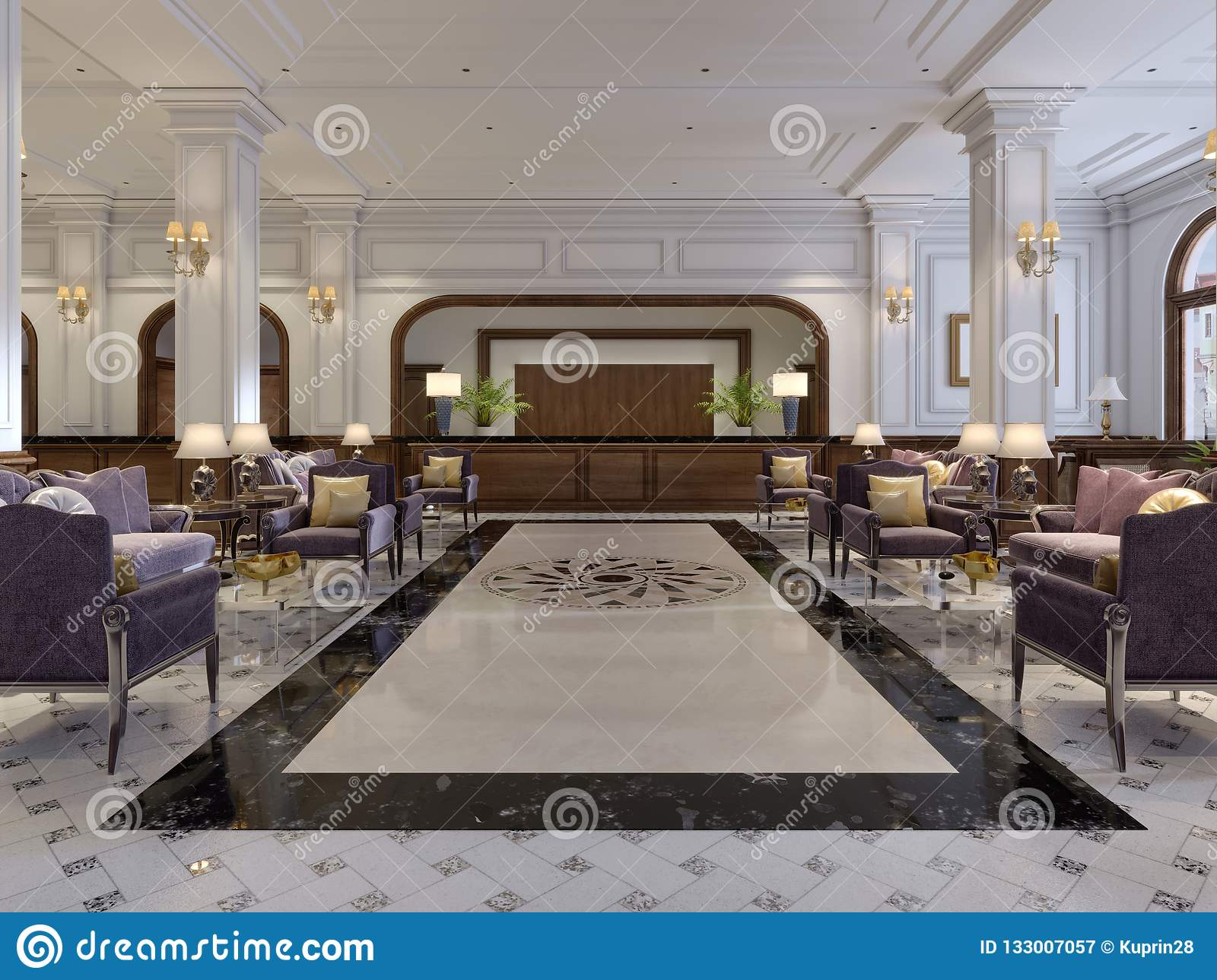 Luxury Hallway Reception In Classic Hotel Interior Stock Illustration Illustration Of Contemporary Lounge 133007057