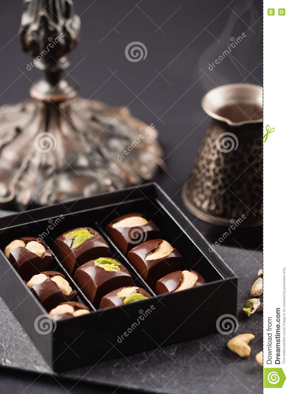 Luxury Handmade Chocolate Candies With Nuts In Gift Box