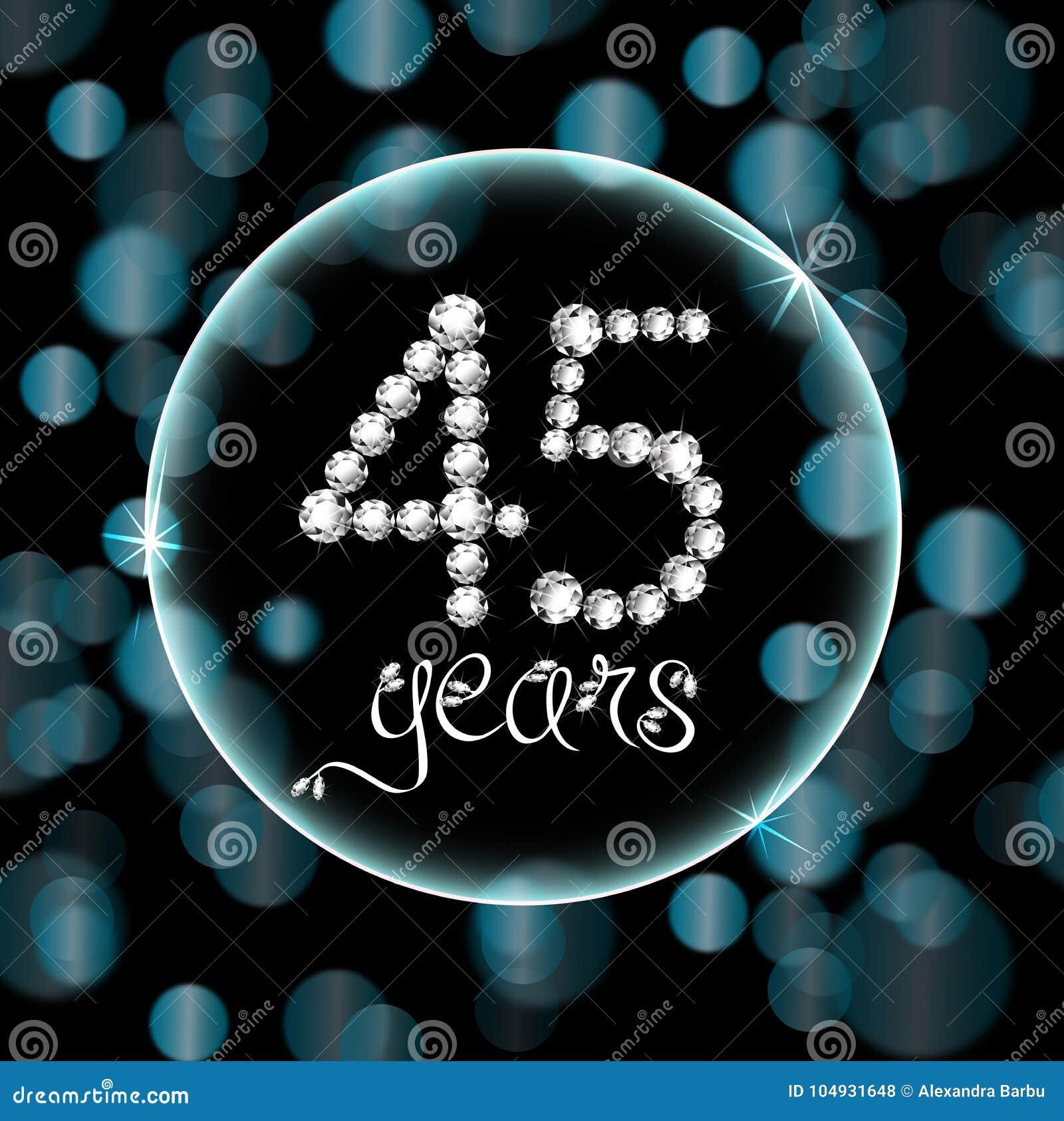 45th years happy birthday anniversary card invitation diamonds number blue bokeh lights
