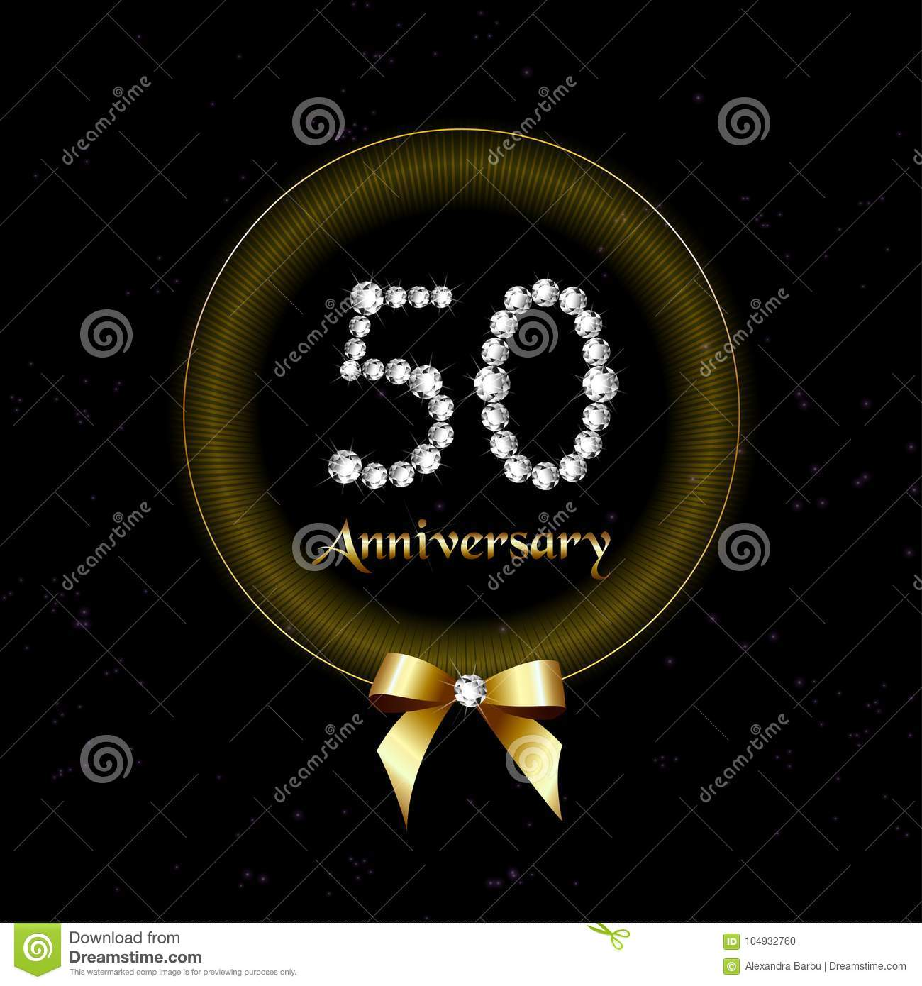 50th years happy birthday anniversary card invitation diamond number