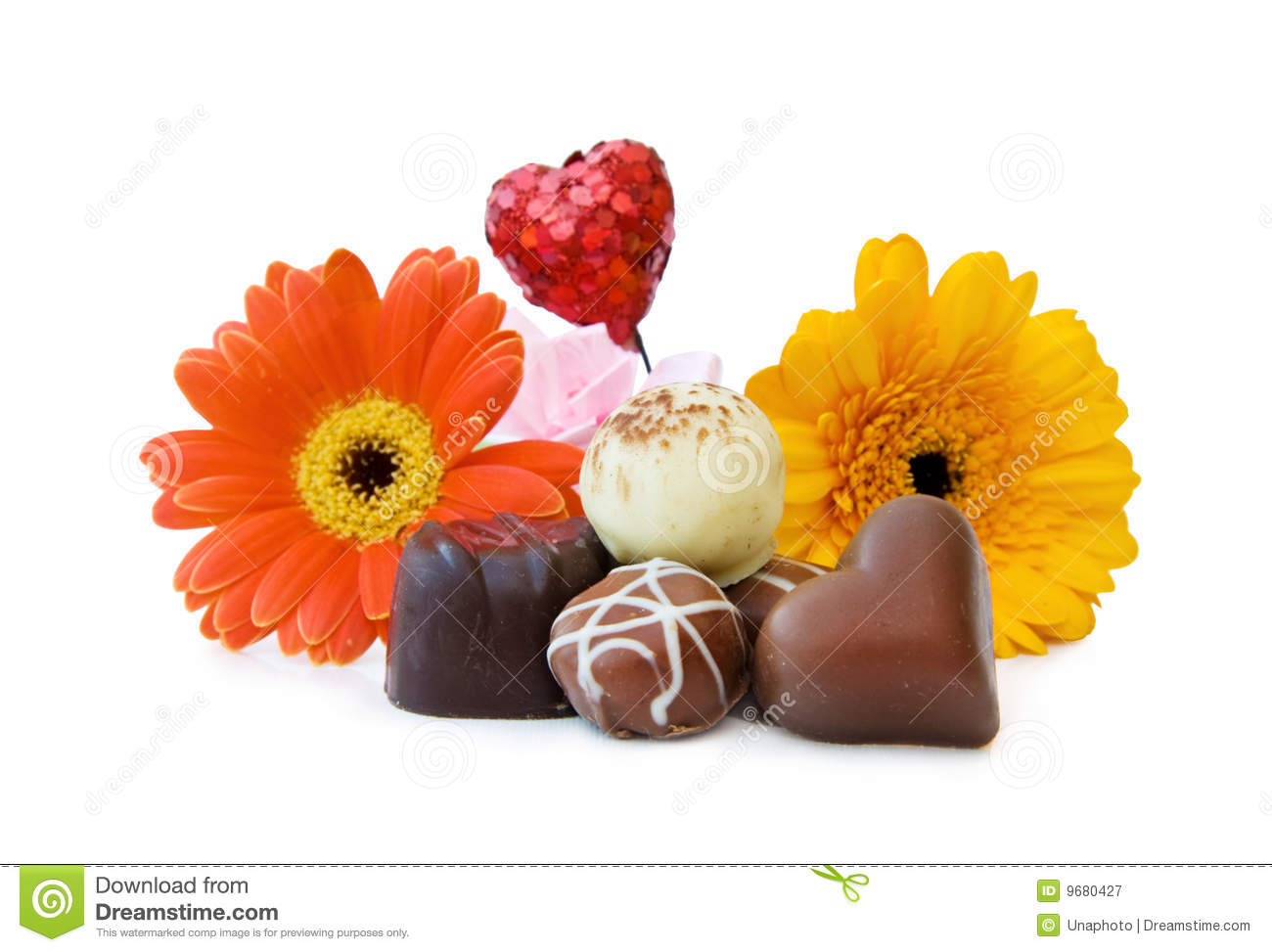 Luxury Heart Shaped Chocolates With Flowers Stock Image