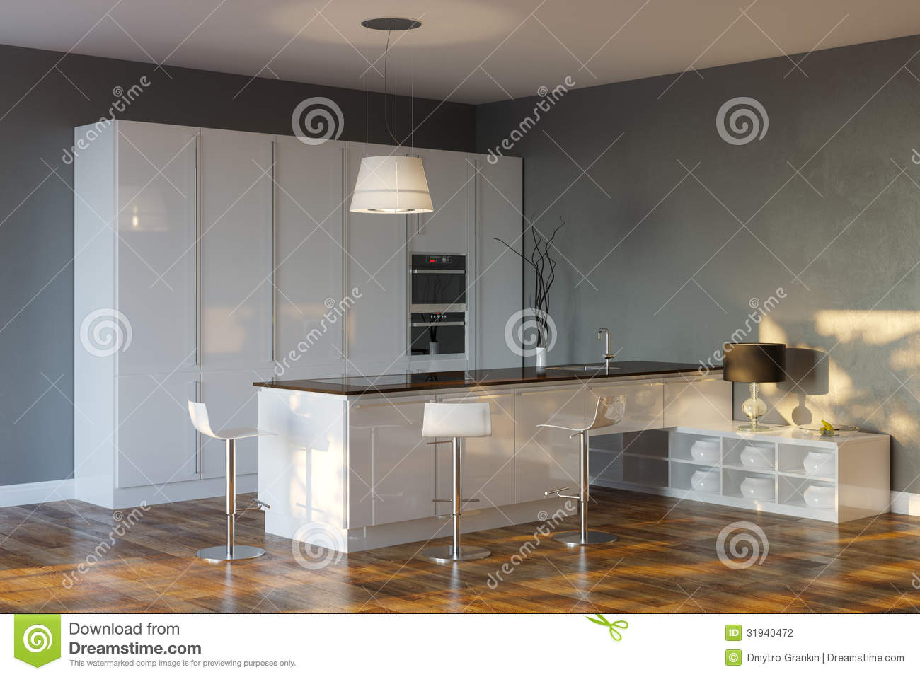 Grey Walls In Kitchen Luxury Hi Tech Kitchen With Grey Walls And Bar Stock Photography