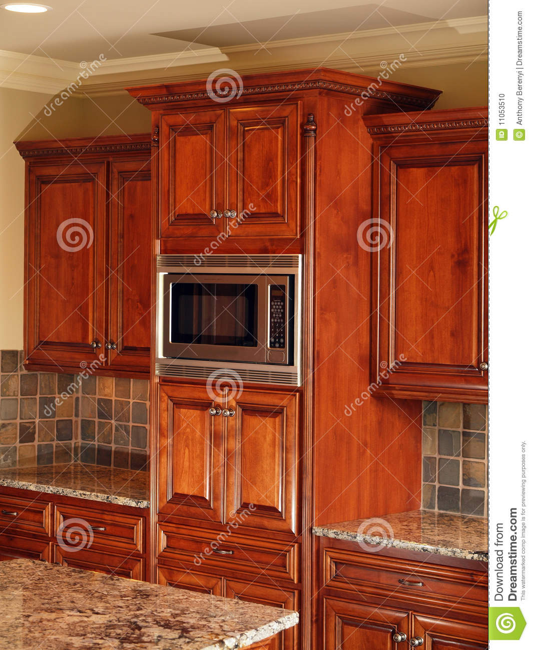Dark Wood Cabinets Kitchen: Luxury Home Dark Wood Kitchen Cabinet Stock Photo