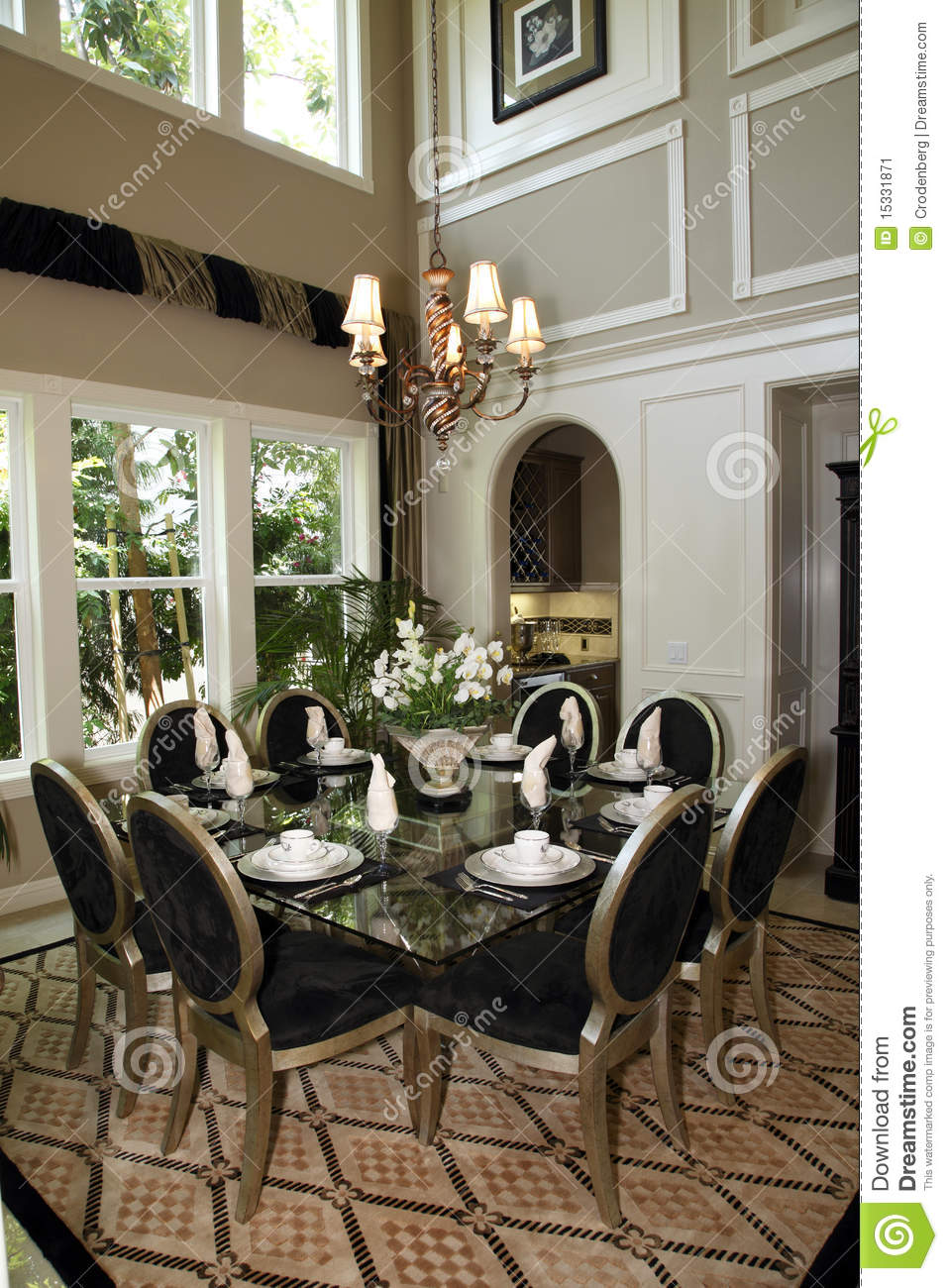 Luxury Home Dining Room Stock Image Image Of Wood