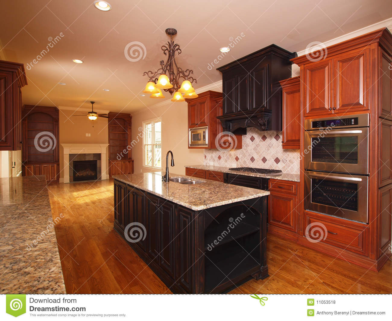 Luxury Home Extended Kitchen With Fireplace Royalty Free Stock ...