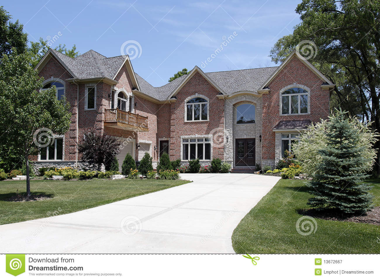Luxury Home With Front Balcony Stock Image Image Of