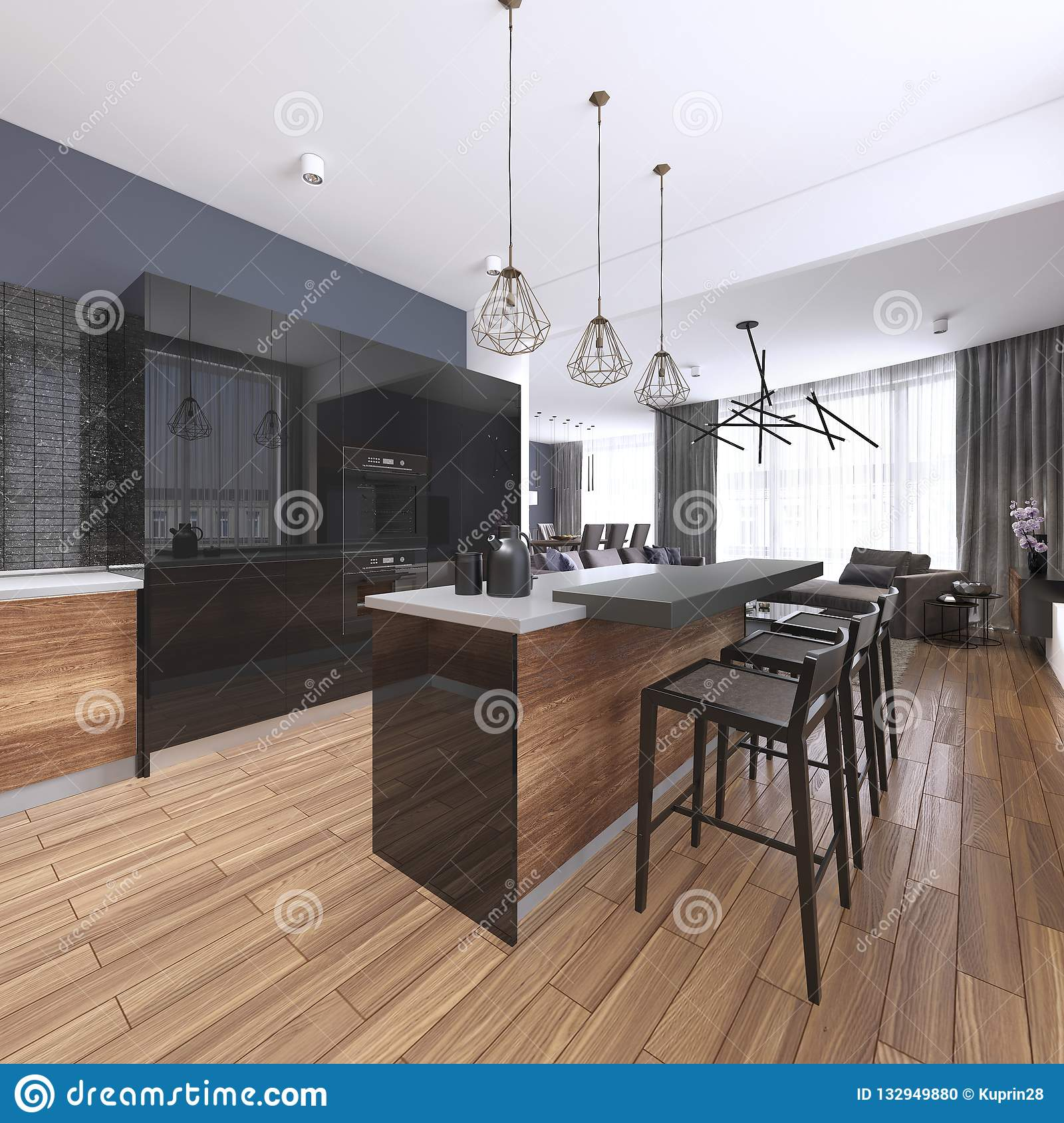 Luxury Home Interior Beautiful Kitchen With Custom Black And Wood