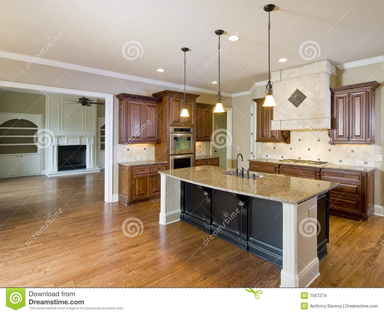 Luxury home interior kitchen and living room stock photo for Cuisines americaines de luxe