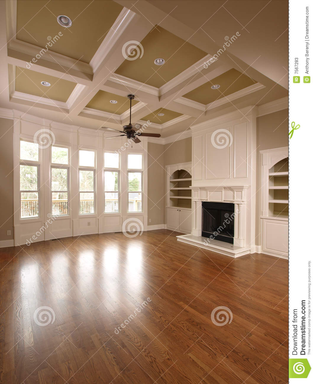 Luxury Home Interior Living Room With Windows Stock Image