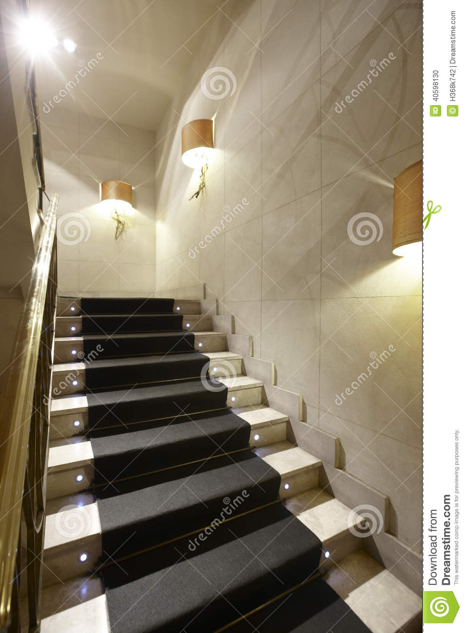 Luxury Home Interior With Marble Stairs Stock Photo