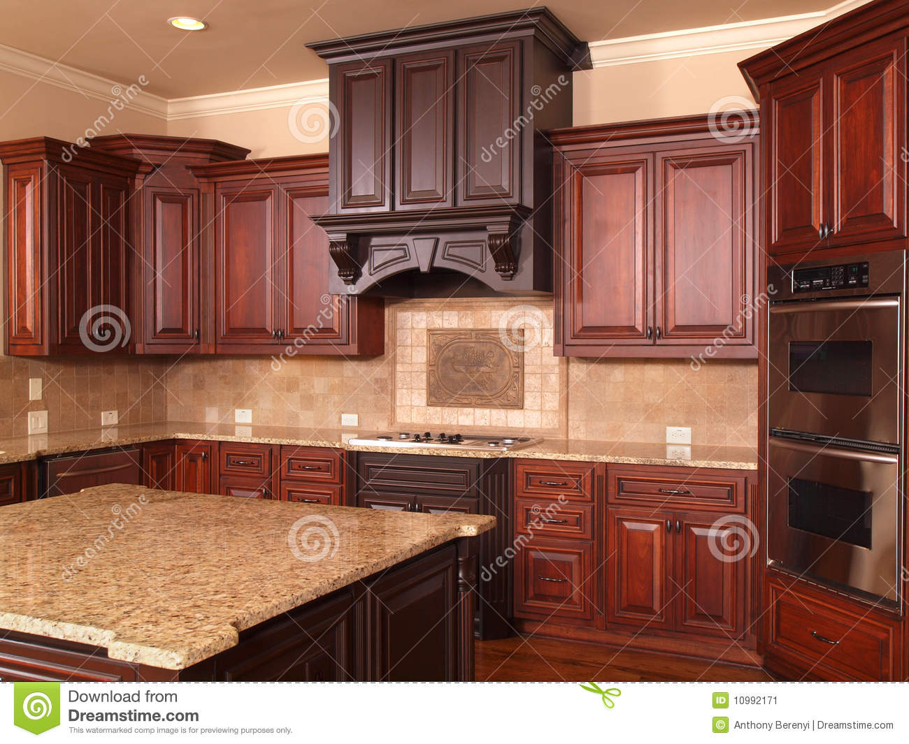 Luxury Home Kitchen Center Island Stock Image - Image of ...