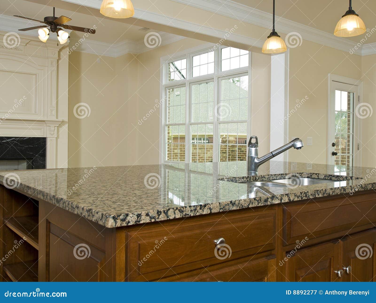 Luxury Home Kitchen Granite Island Countertop Stock Image
