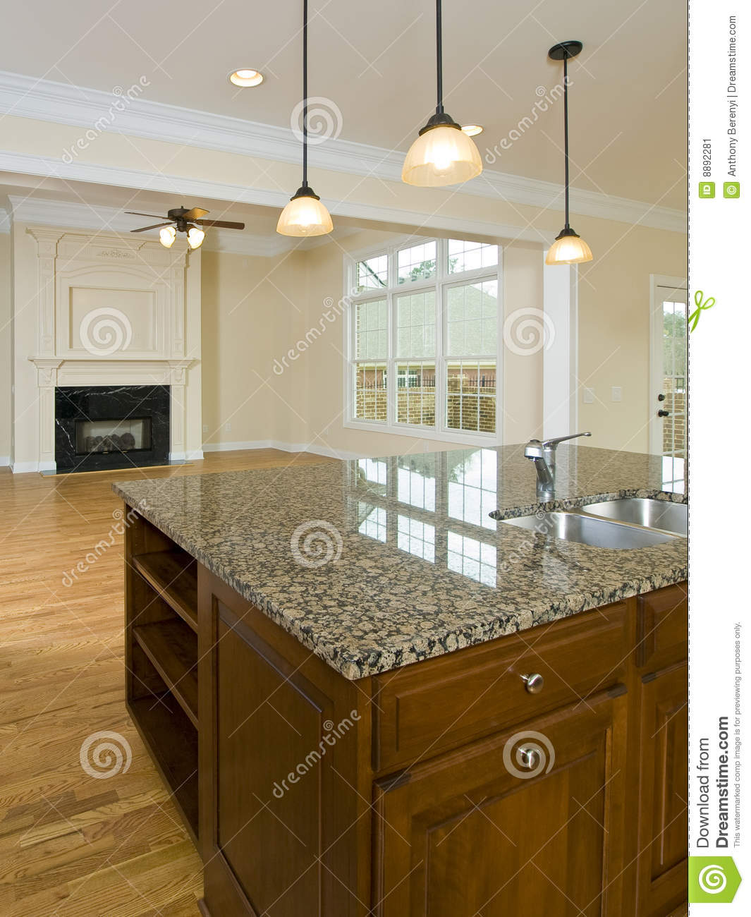 luxury home kitchen island and family room stock image image
