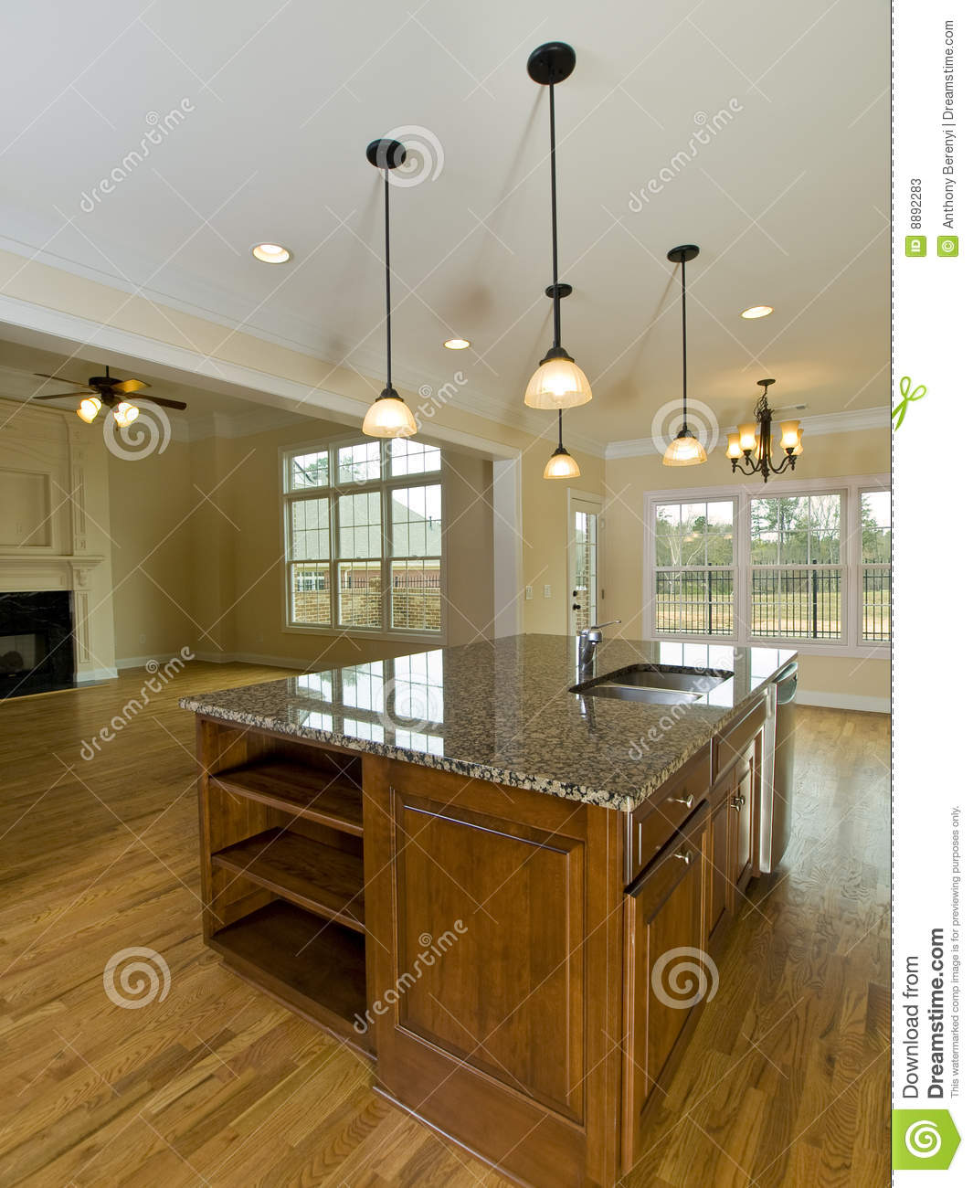 Luxury Home Kitchens: Luxury Home Kitchen Island With Hanging Lights Stock