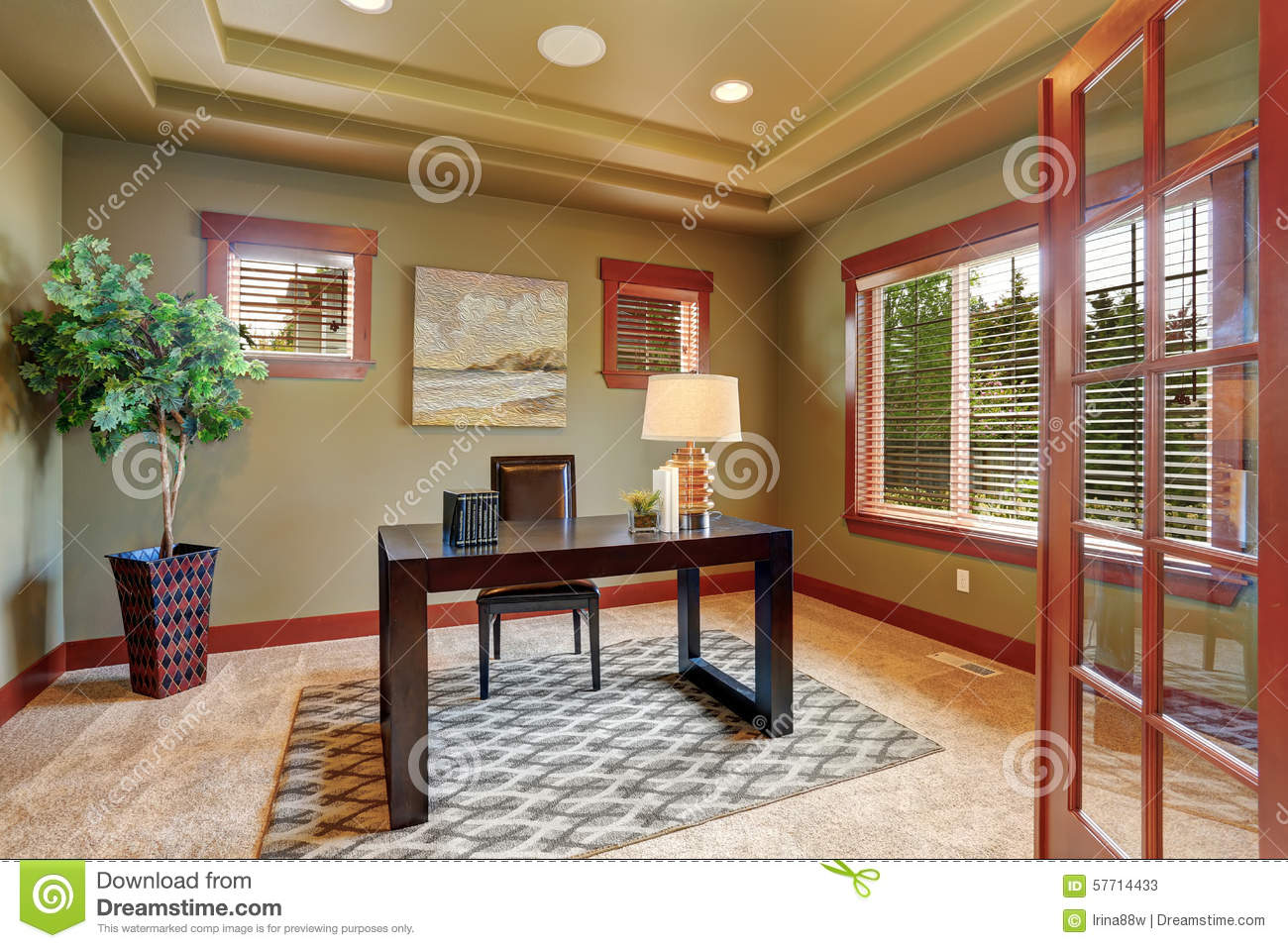 Paint For Home Office Color Ideas Luxury Home Office With Green Interior Paint Dreamstimecom Luxury Home Office With Green Interior Paint Stock Image Image Of