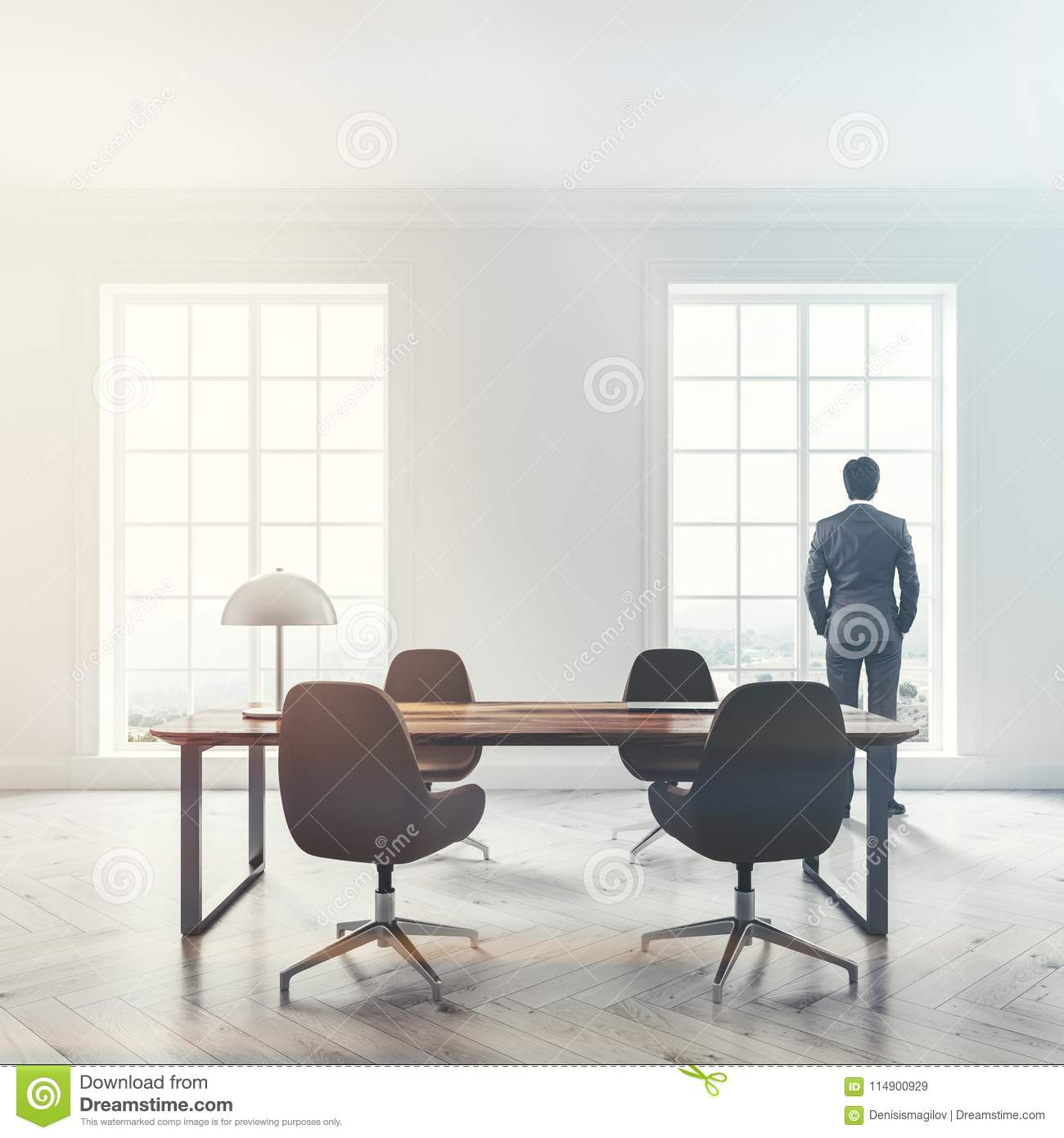 Luxury Home Office Interior, Man Stock Image - Image of desk ...