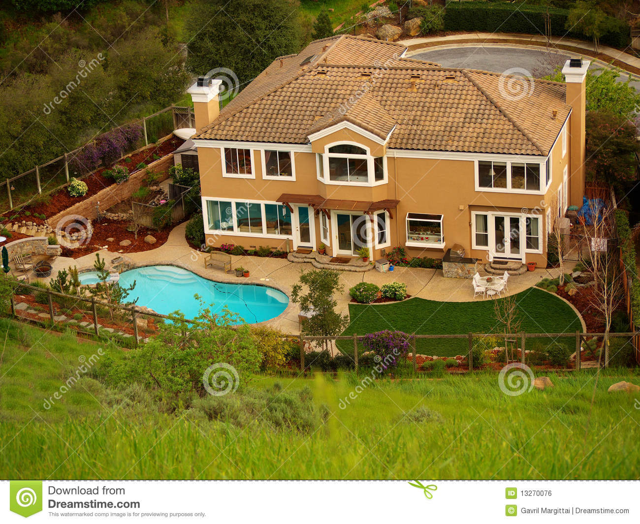 Luxury home with pool in the backyard stock photo image for Free luxury home images