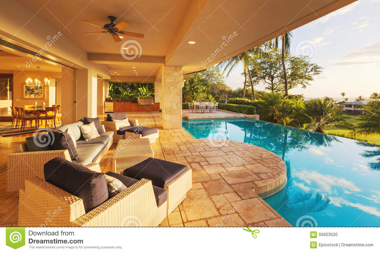 Luxury home with pool at sunset stock photo image 56923520 for Beautiful house with swimming pool
