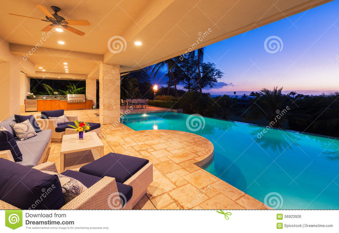 Luxury Home With Pool At Sunset Stock Photo Image 56923926
