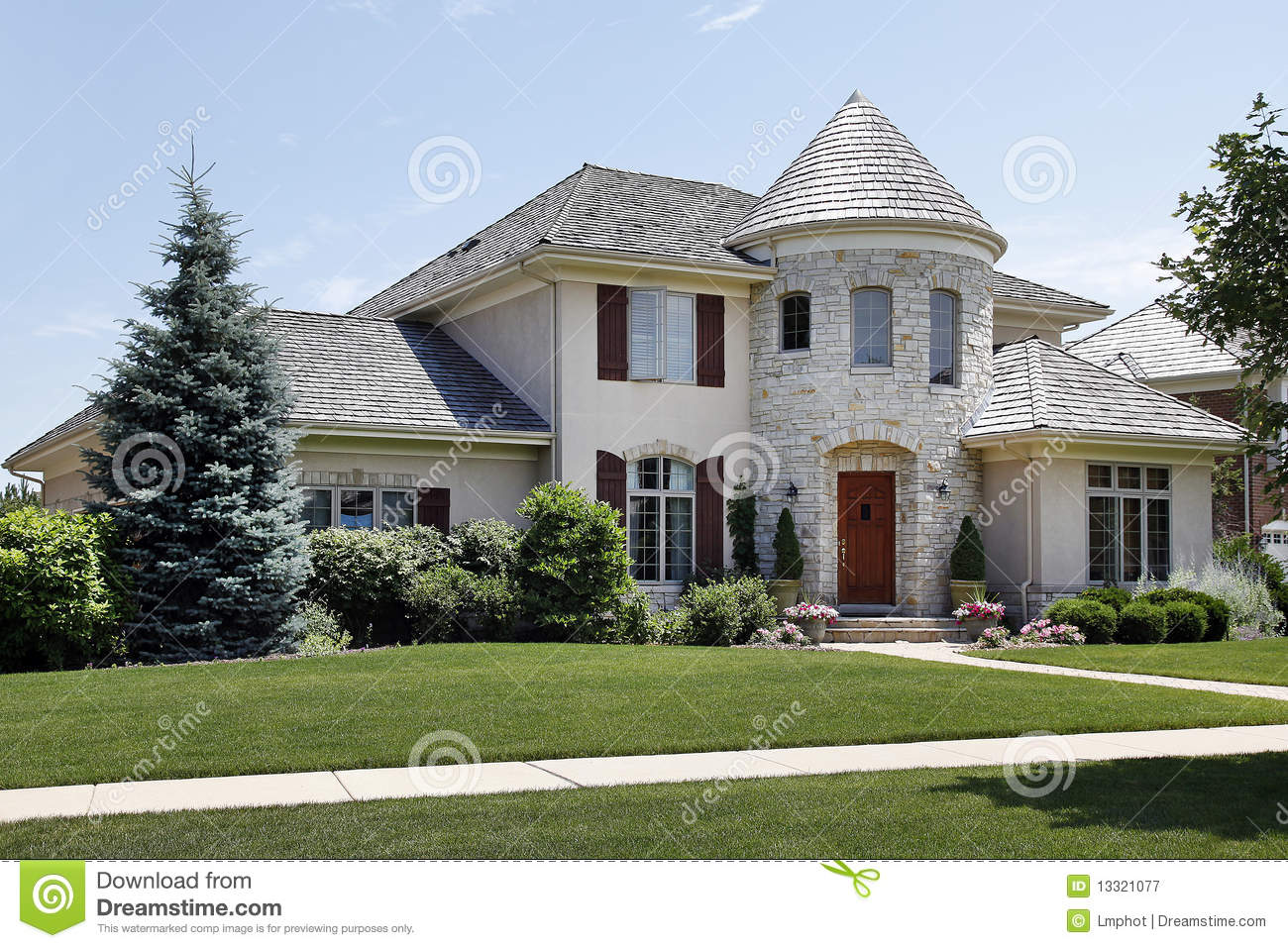 Luxury home with stone turret royalty free stock for Free luxury home images