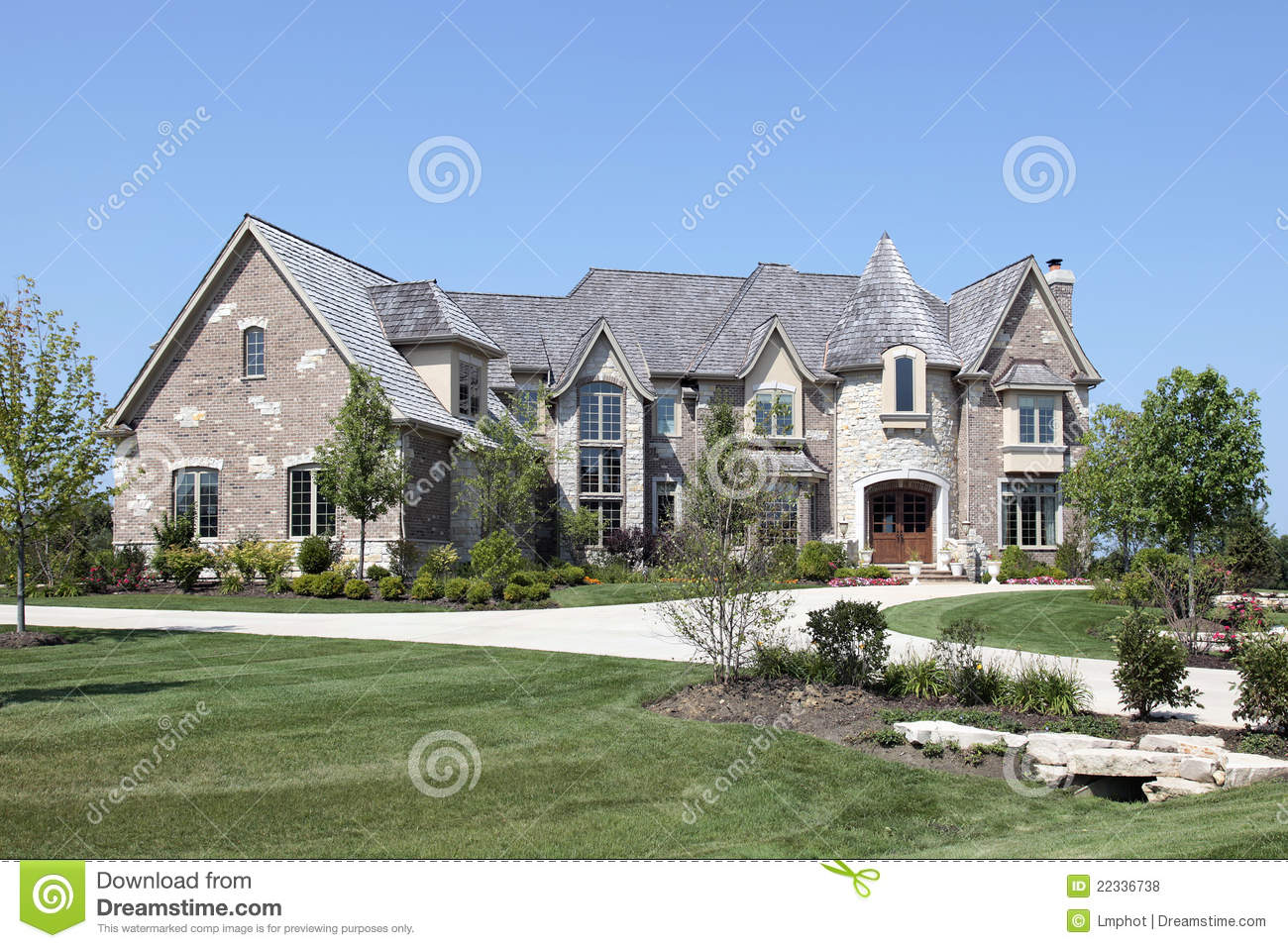 Luxury home with stone turret royalty free stock photos for Free luxury home images