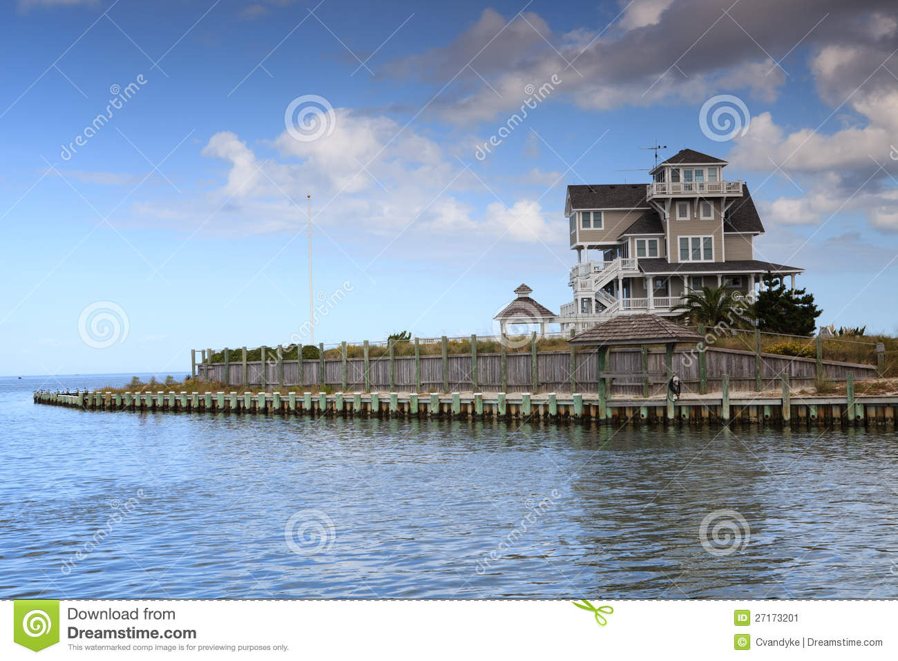 Luxury Home Surrounded By Water Stock Image Image 27173201