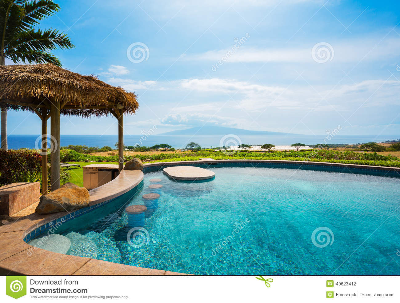 Luxury home with swimming pool stock photo image 40623412 - How to make swimming pool water blue ...