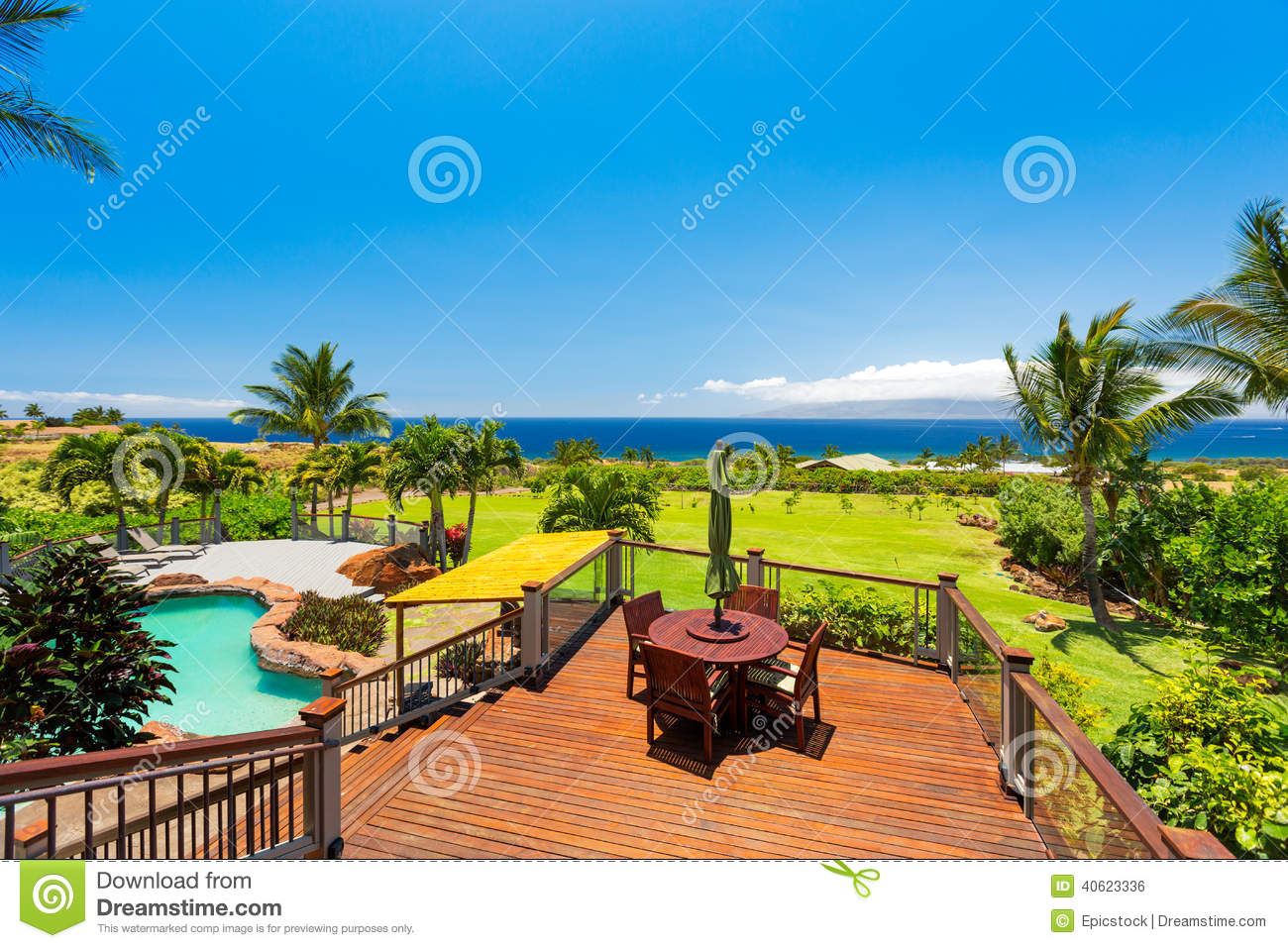 Luxury home with swimming pool stock photo image 40623336 for Garden treasures pool clock