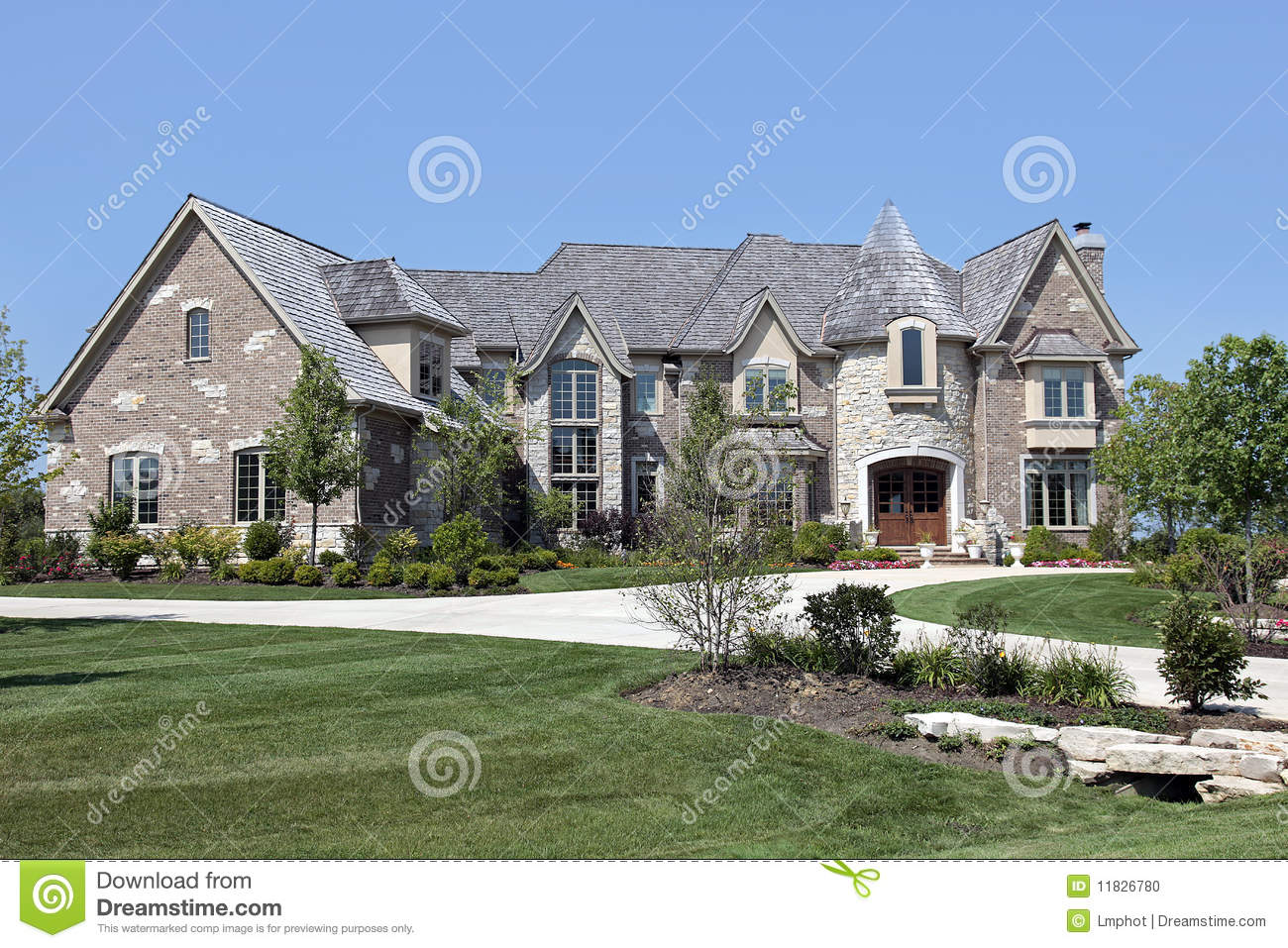 Luxury Home With Turret Stock Photo Image 11826780
