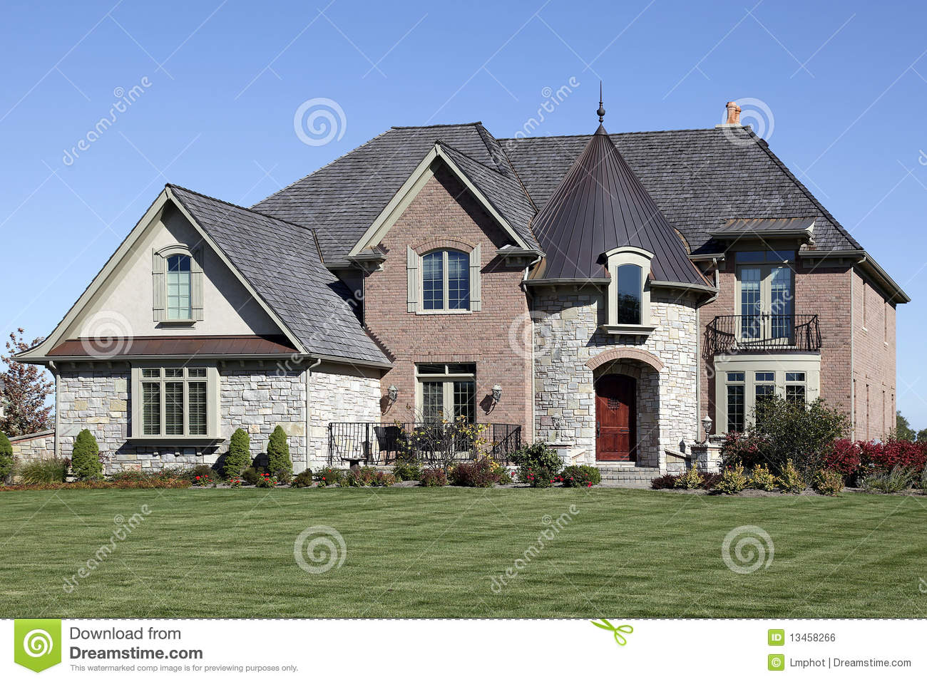 Luxury home with turret royalty free stock image image for Free luxury home images