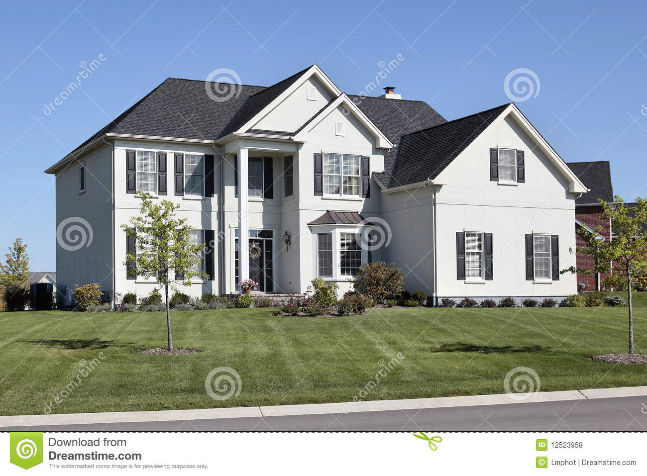luxury home with two story column stock photo image