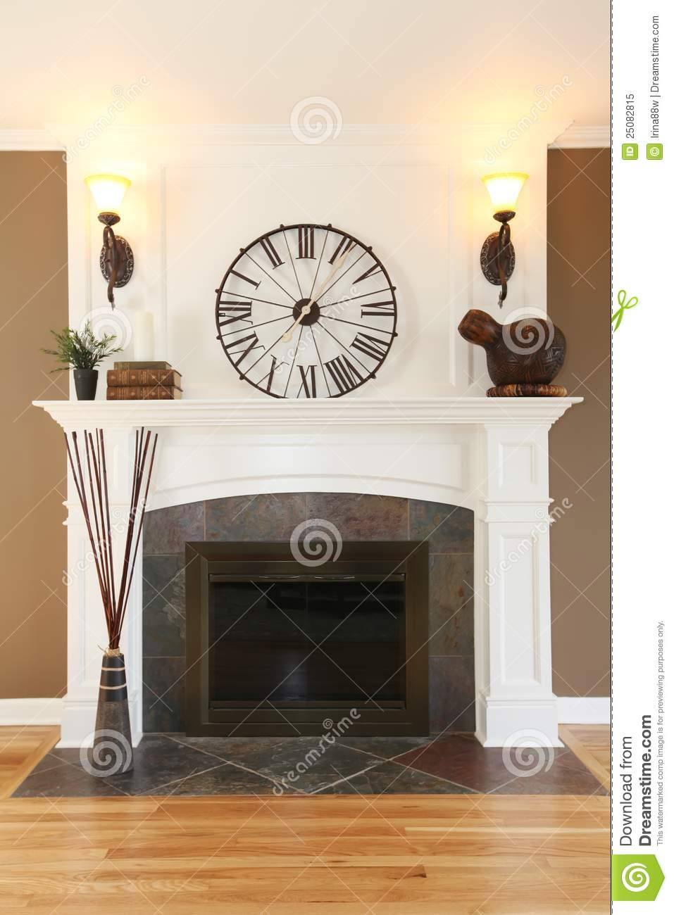 Luxury home white fireplace with stone and clock stock - Chimeneas de ladrillo ...