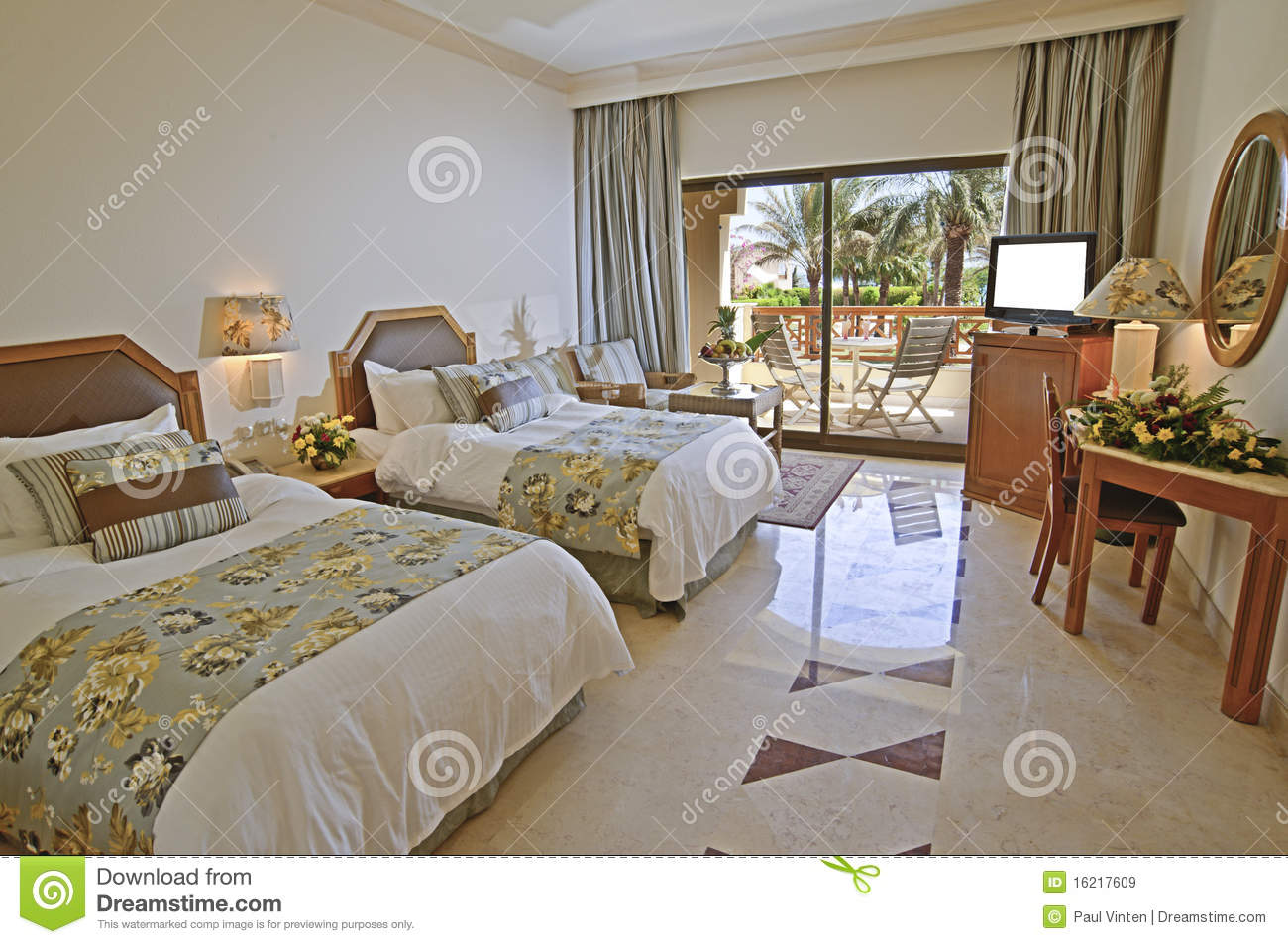 Luxury Hotel Bedroom With Sea View Royalty Free Stock Images - Image ...