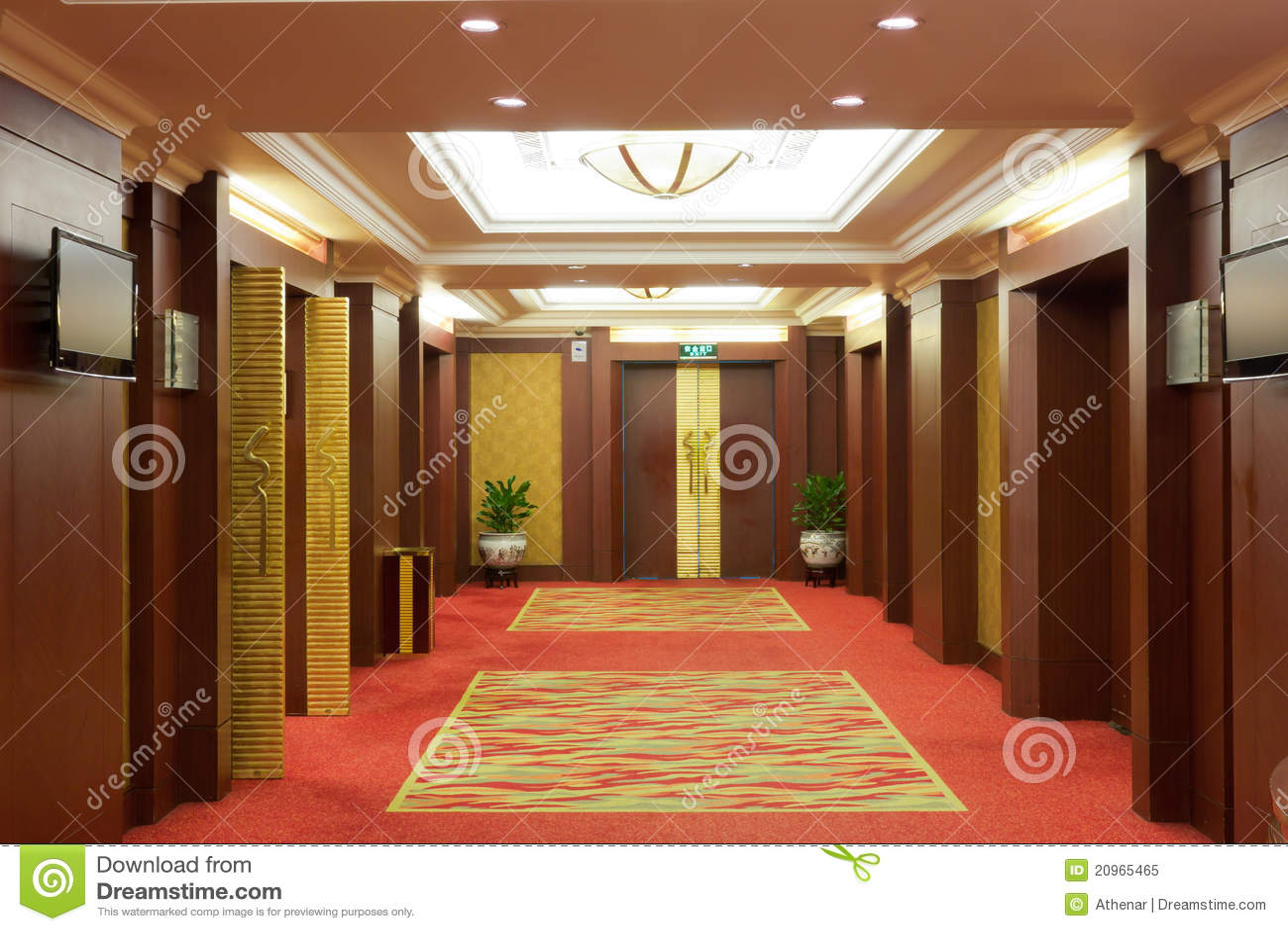 Luxury Hotel Corridor Interior Royalty Free Stock Photo