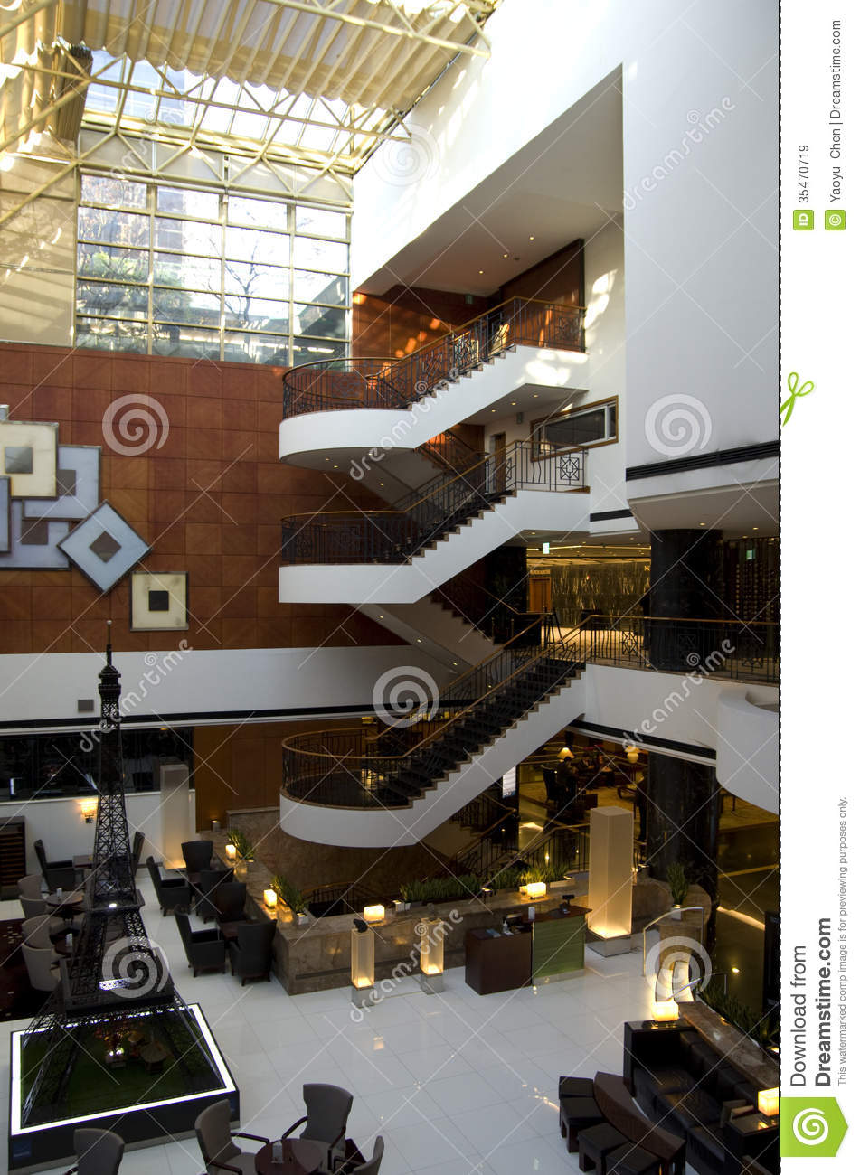 Luxury hotel lobby architecture editorial stock image for Cool hotel designs