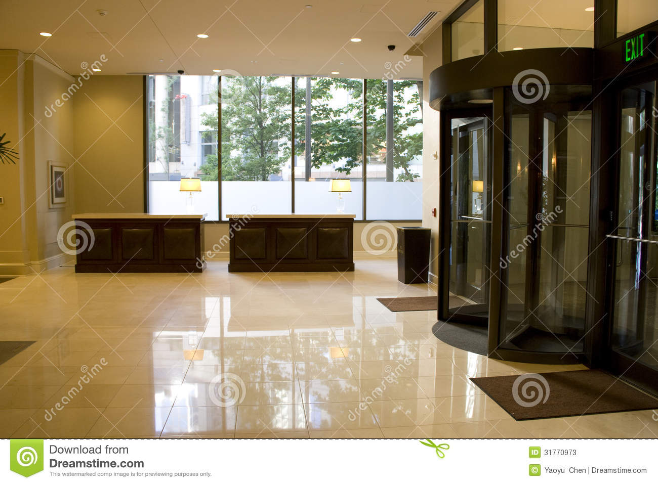 Luxury Hotel Lobby Front Desk Stock Image - Image of desk ...