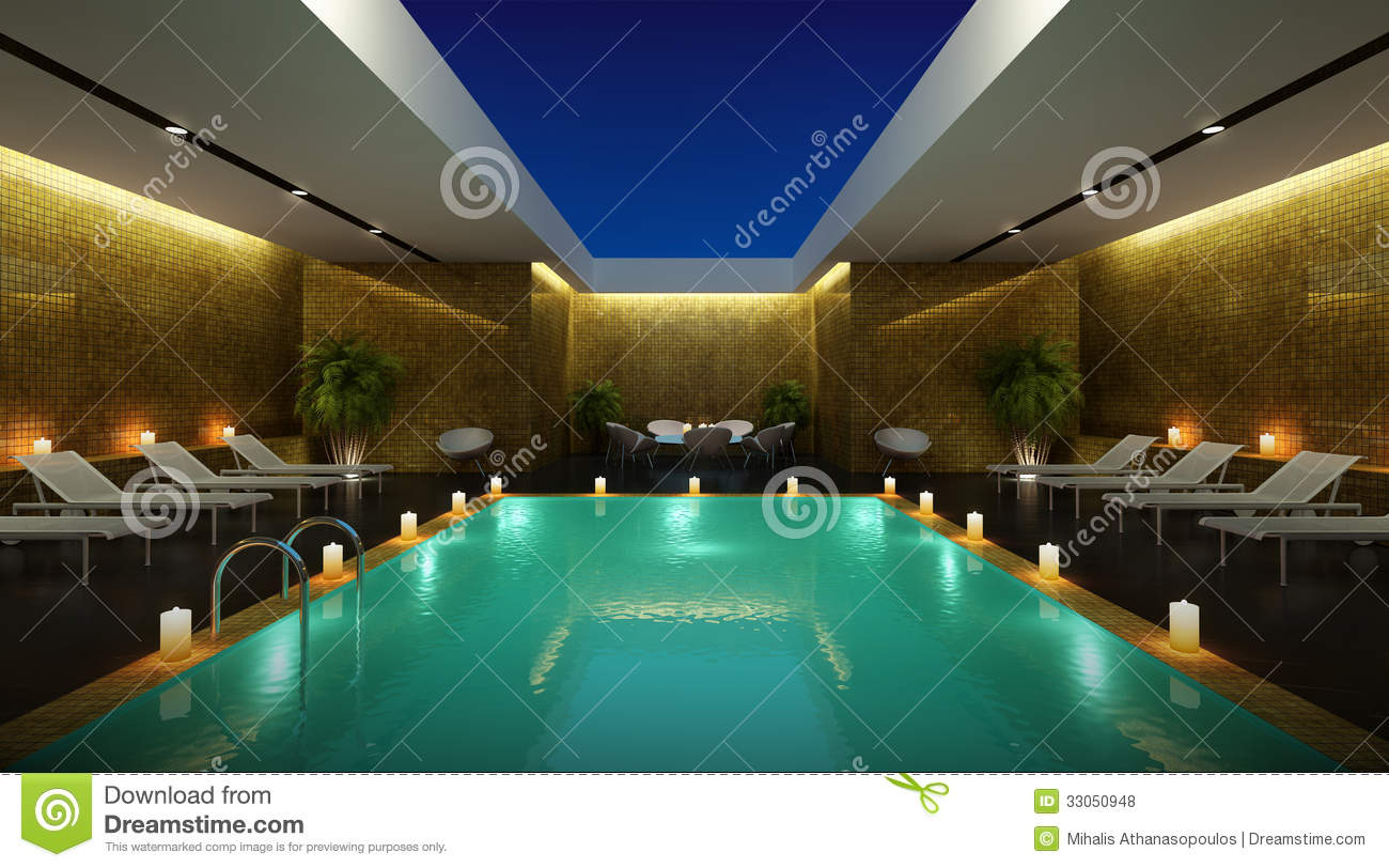 Luxury hotel pisine lounge sky view room royalty free for Salon open space