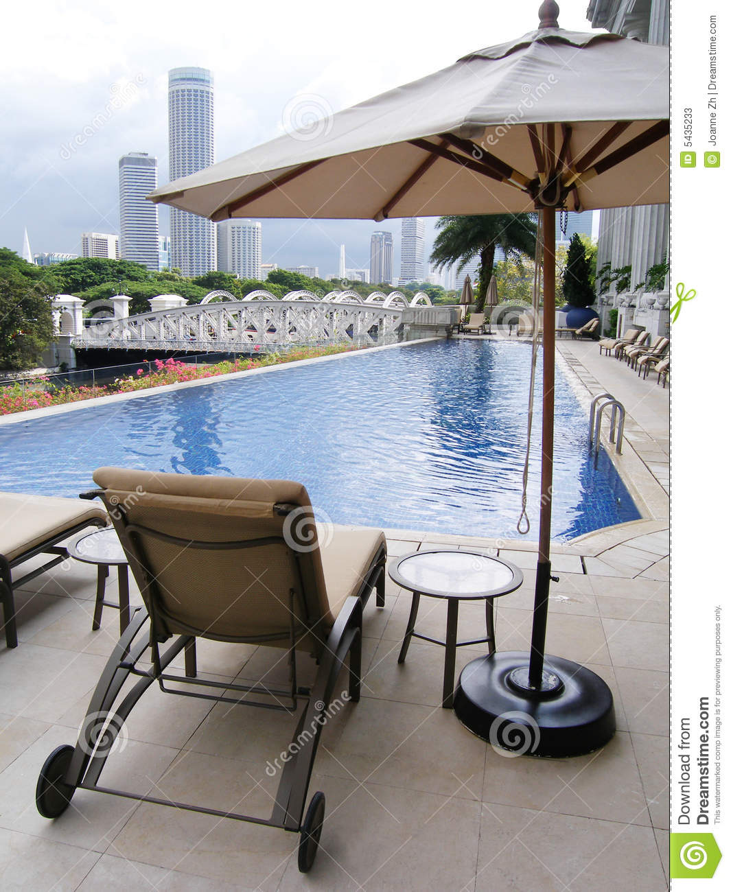 Luxury Hotel Pool City View Stock Image Image Of Lounger Loungers 5435233