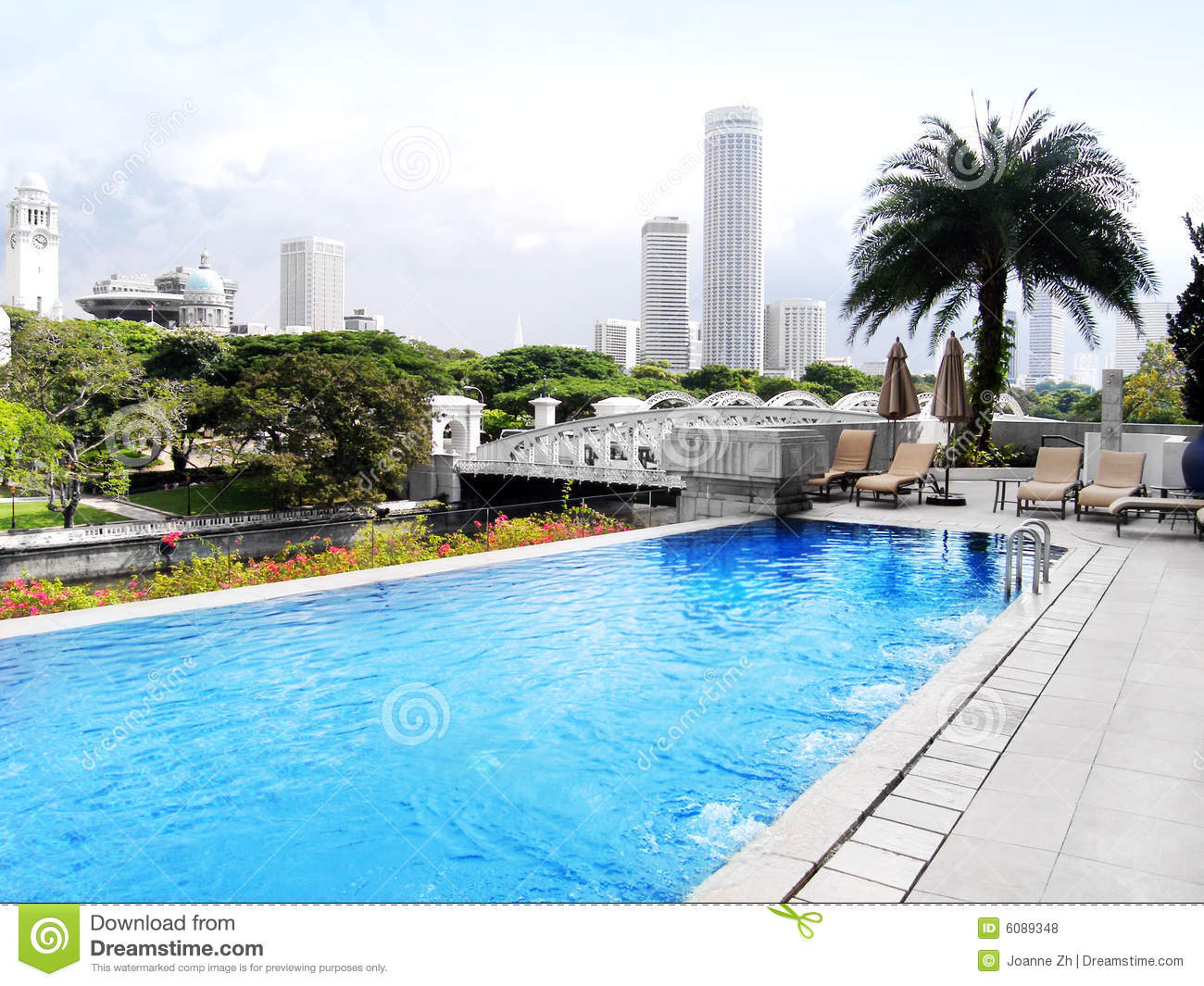 Luxury Hotel Pool City View Royalty Free Stock Photos Image 6089348