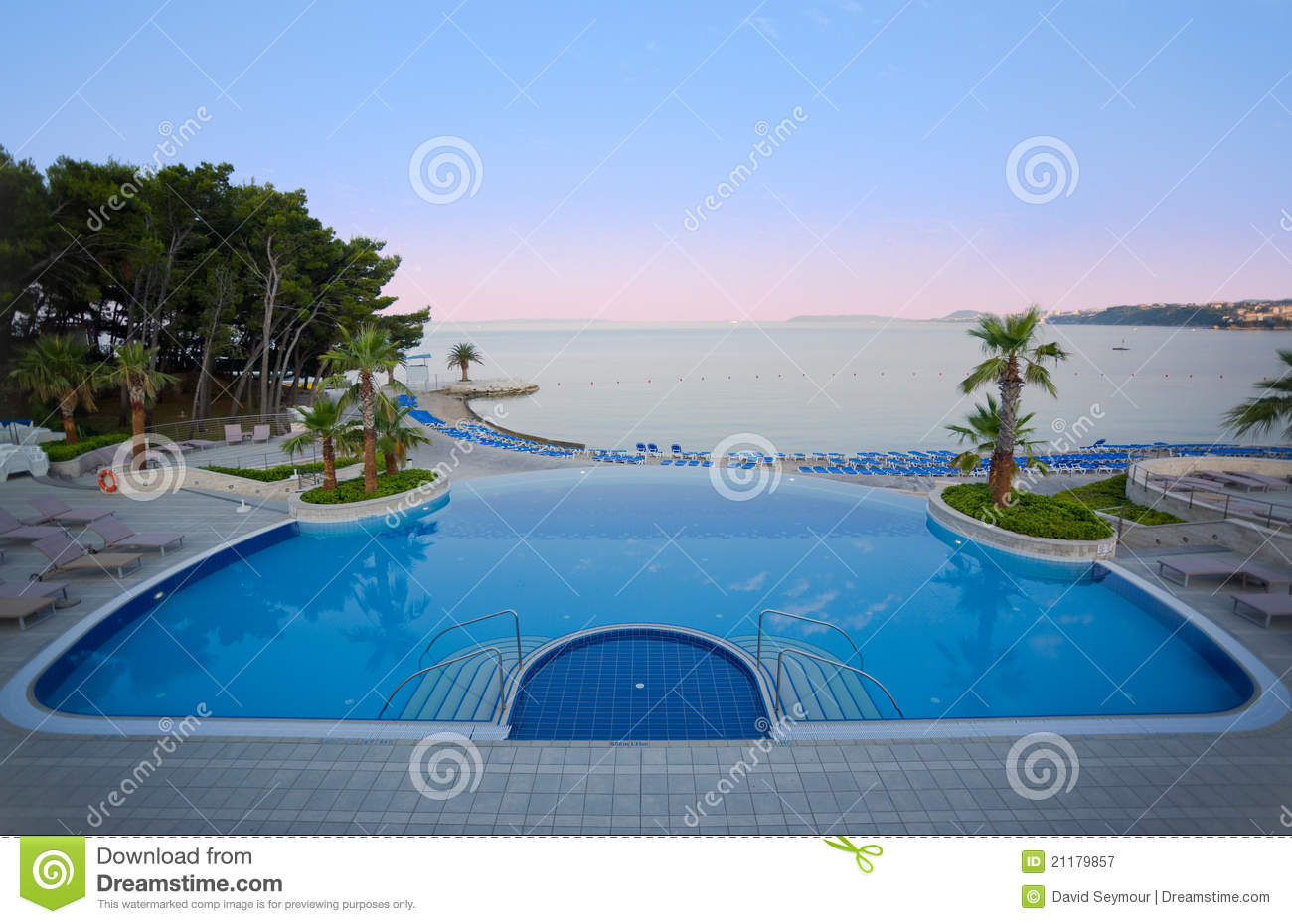 Luxury hotel pool with stunning sea view