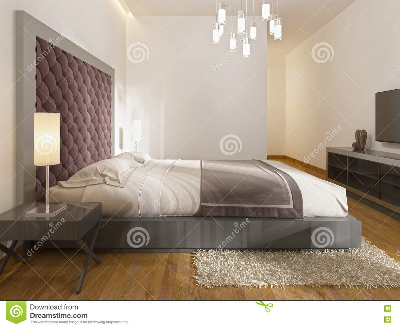 A luxury hotel room in art deco stock illustration image 79491563 - Beautiful snooze bedroom suites packing comfort in style ...