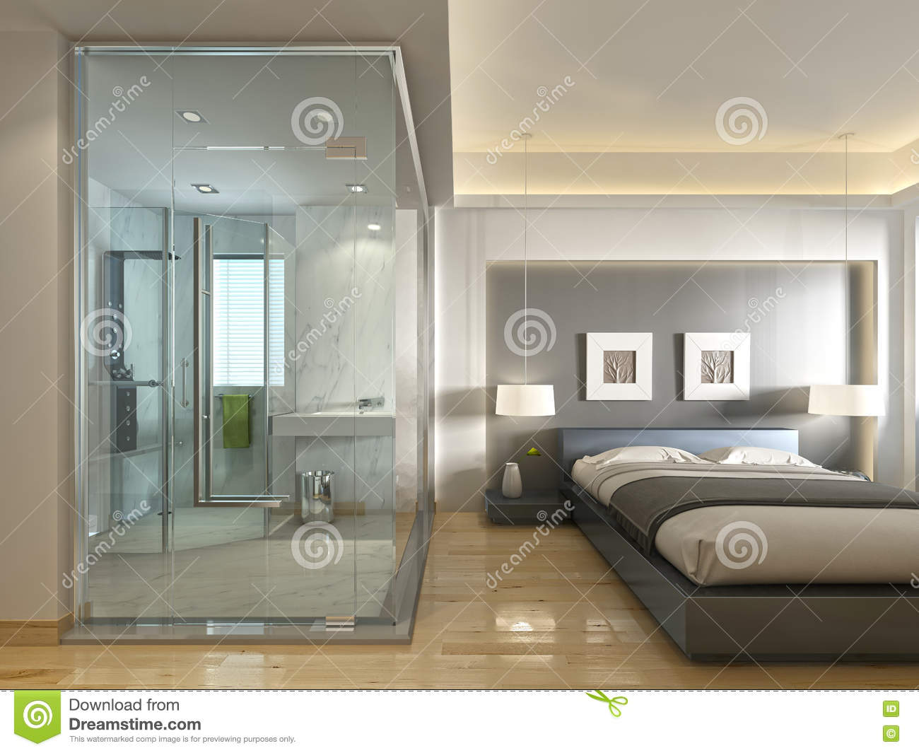 A luxury hotel room in a contemporary design with glass for Bathroom seen photos